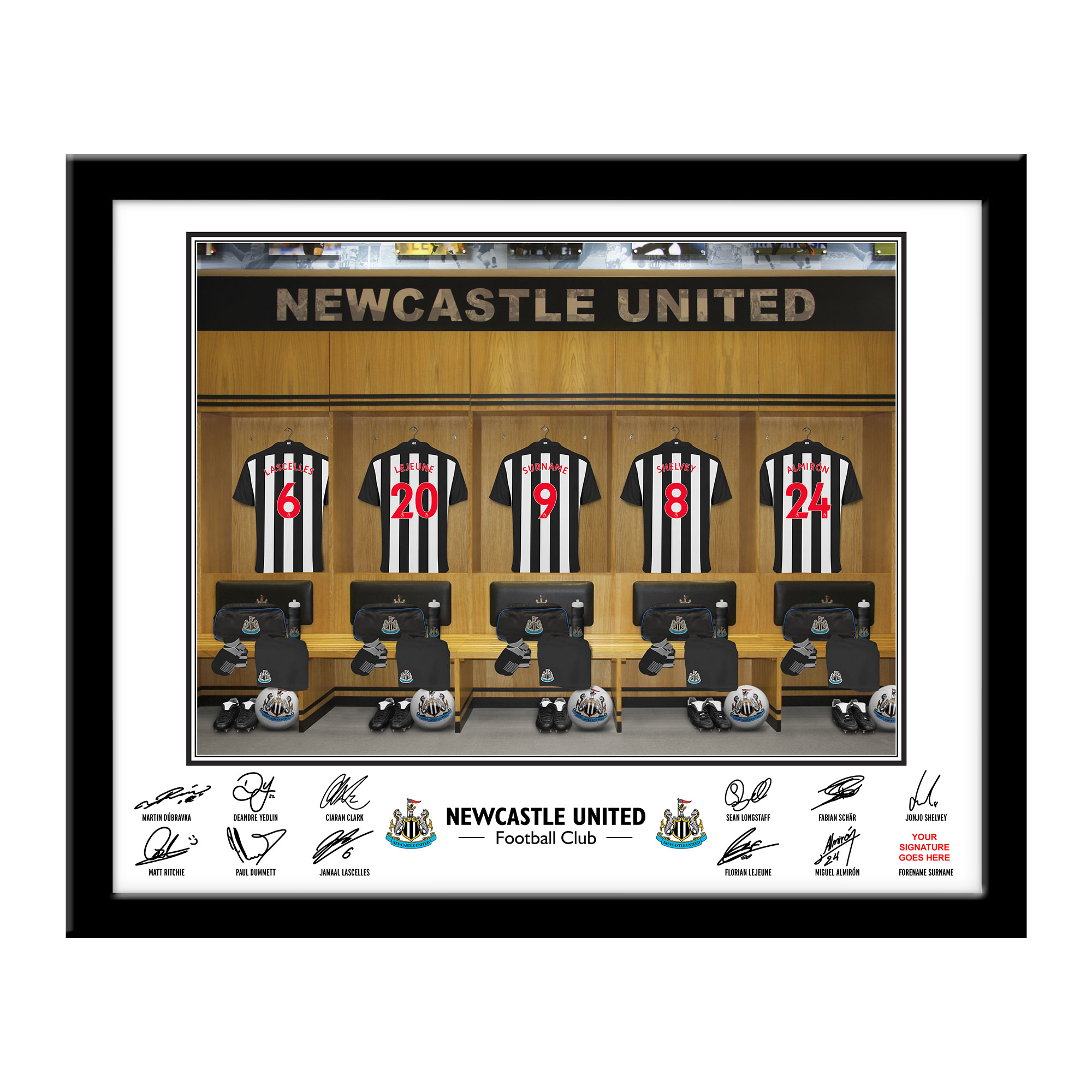 Newcastle United FC Dressing Room Framed Print