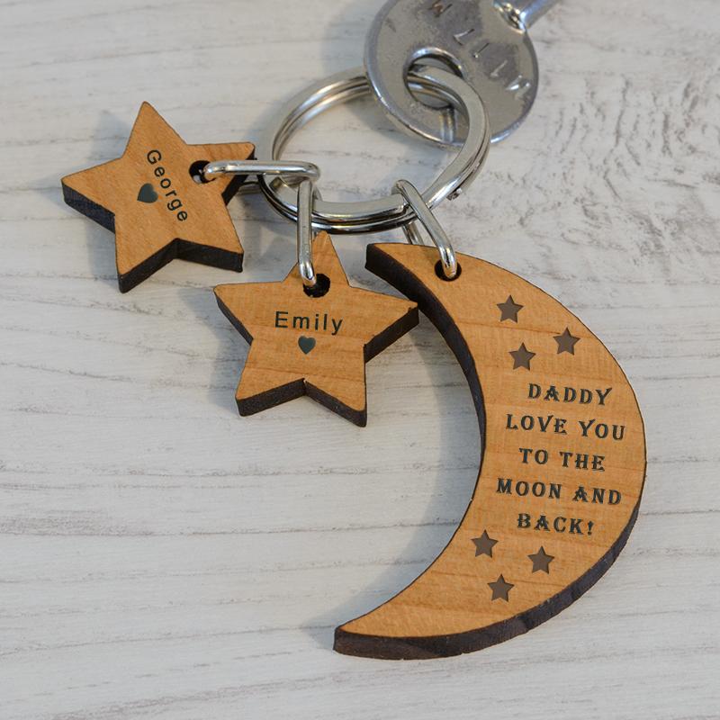 Moon and Stars Key Ring