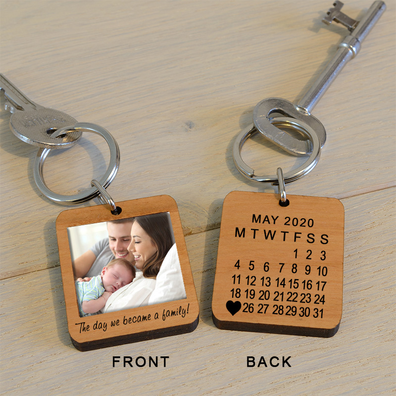 The Day We Became A Family Photo Key Ring