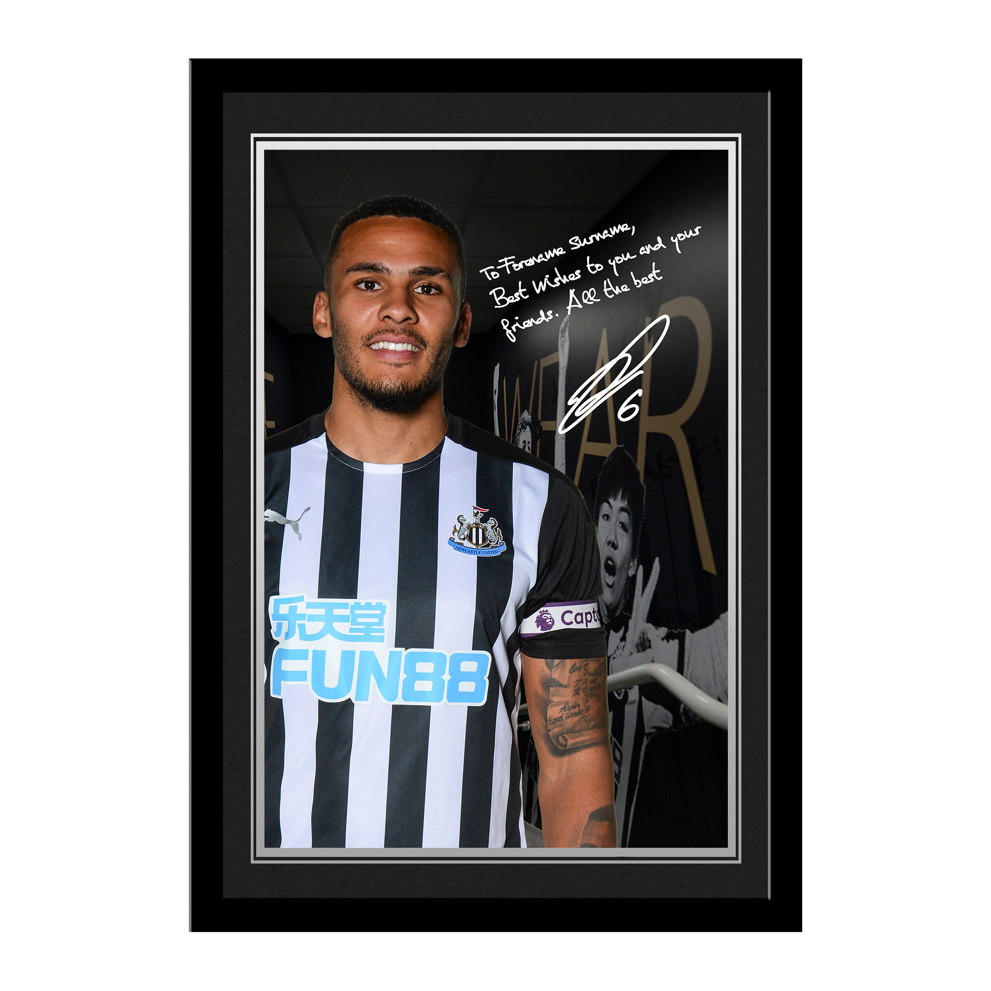 Newcastle United FC Lascelles Autograph Photo Framed