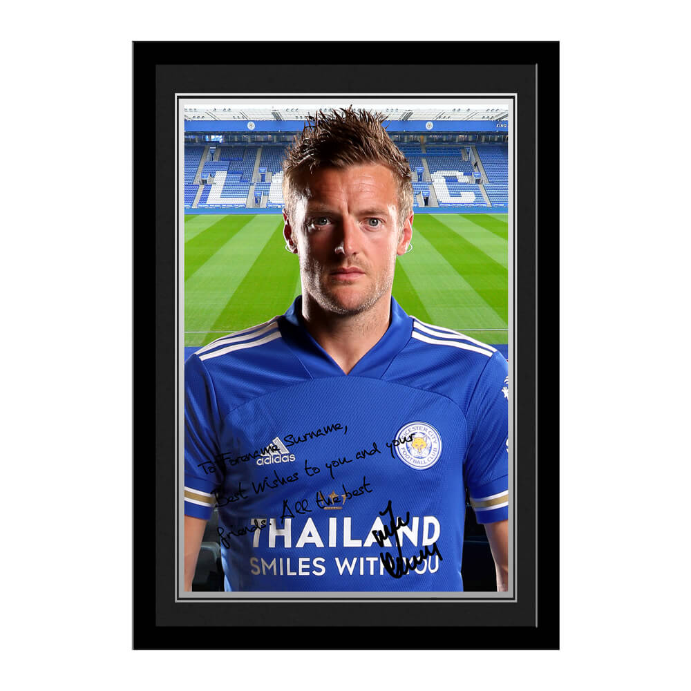Leicester City FC Vardy Autograph Photo Framed