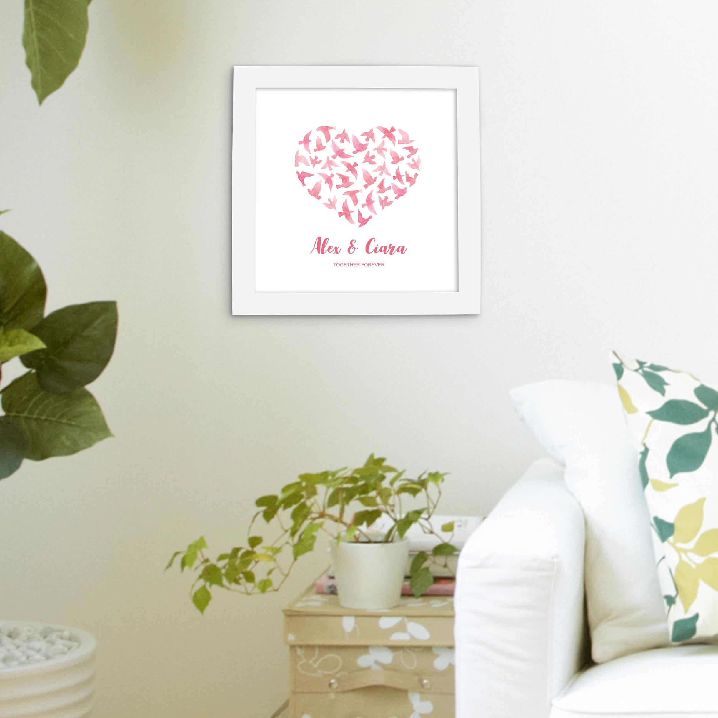 Love birds poster white frame in living room