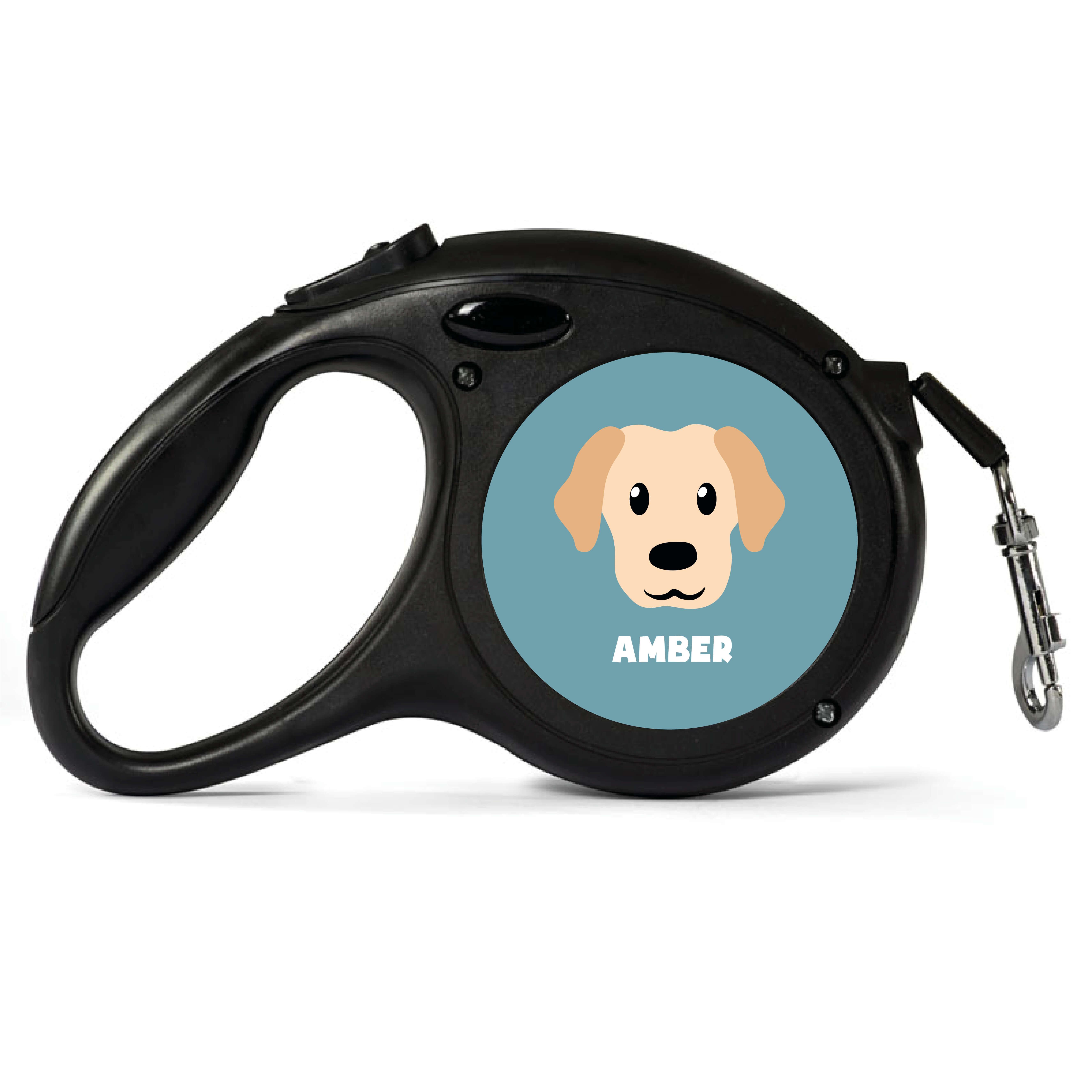 Personalised Cream Labrador Retractable Dog Lead - Small