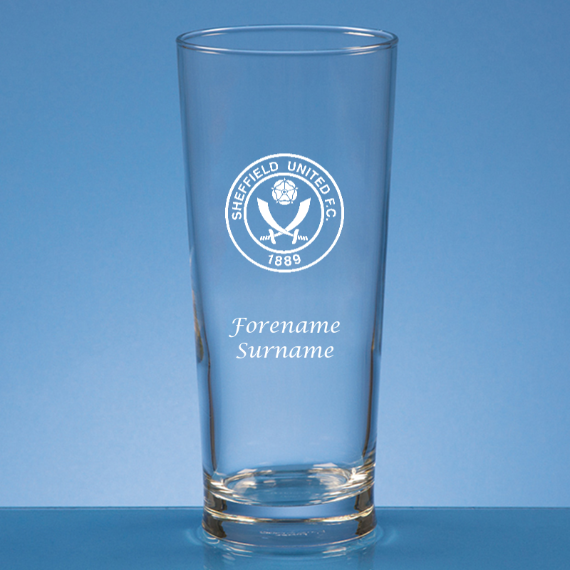 Sheffield United Personalised Crest Straight Sided Beer Glass