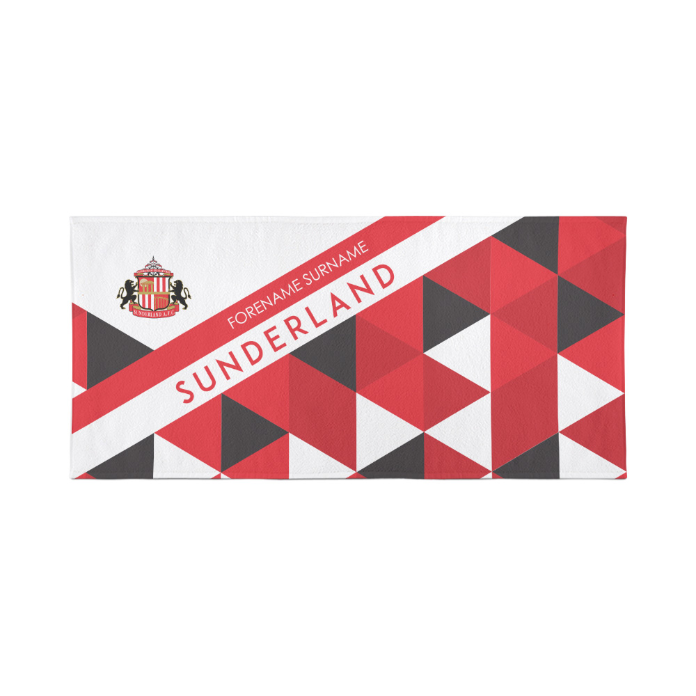Sunderland Personalised Towel - Geometric Design - 70 x 140
