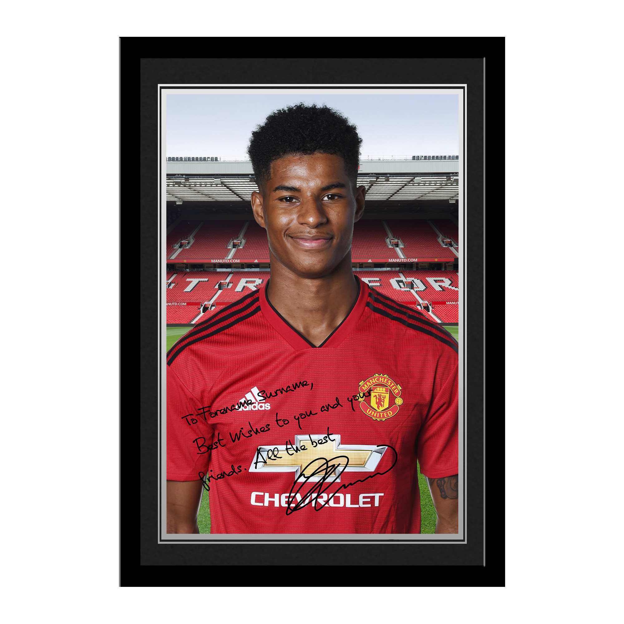 Manchester United FC Rashford Autograph Photo Framed