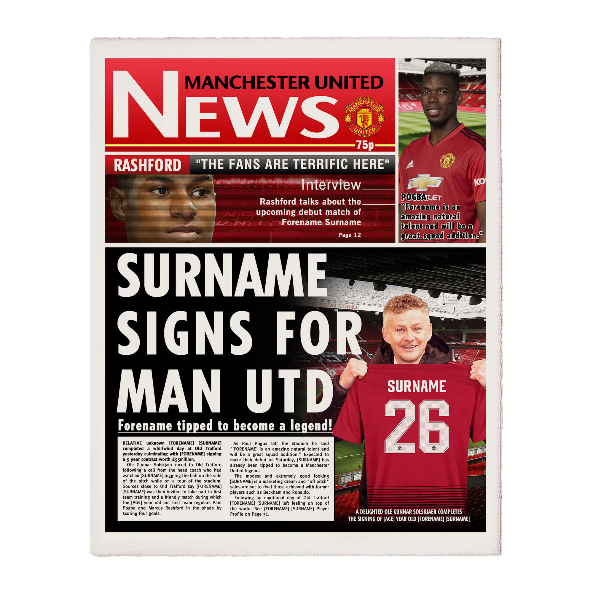 Manchester United FC News Single Page Print