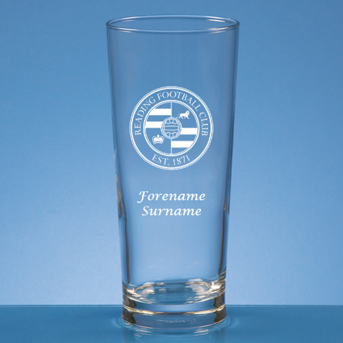 Reading FC Crest Straight Sided Beer Glass