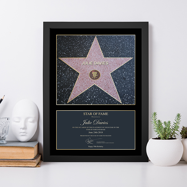 Star of Fame Lifestyle Shot in Black Frame
