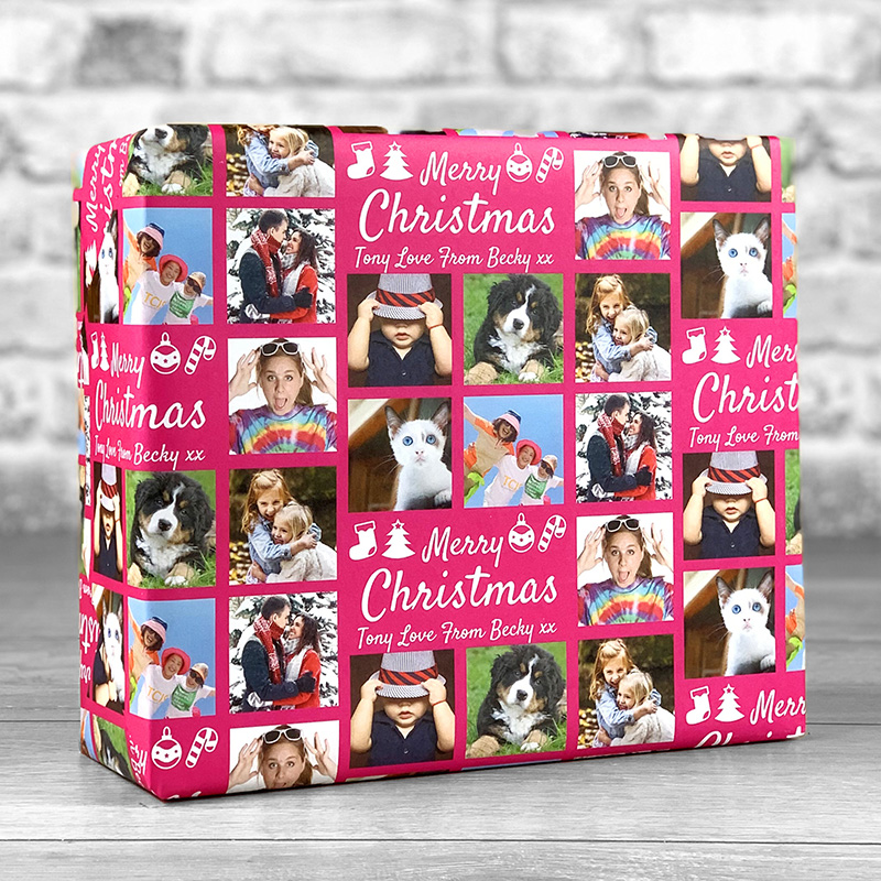 Merry Christmas Fuchsia Gift Wrap with Personalised Message and 7 Photo Uploads
