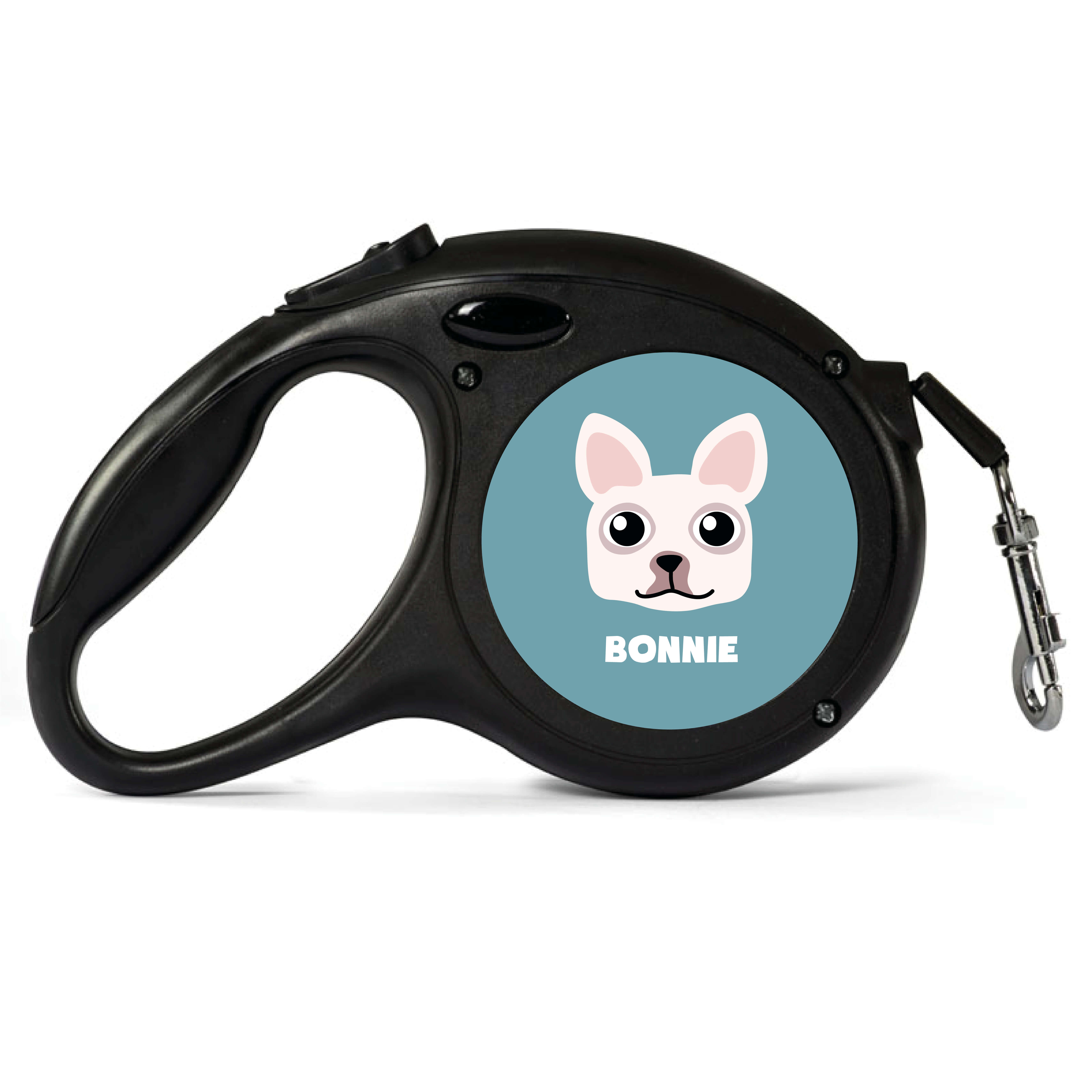 Personalised White French Bulldog Retractable Dog Lead - Large