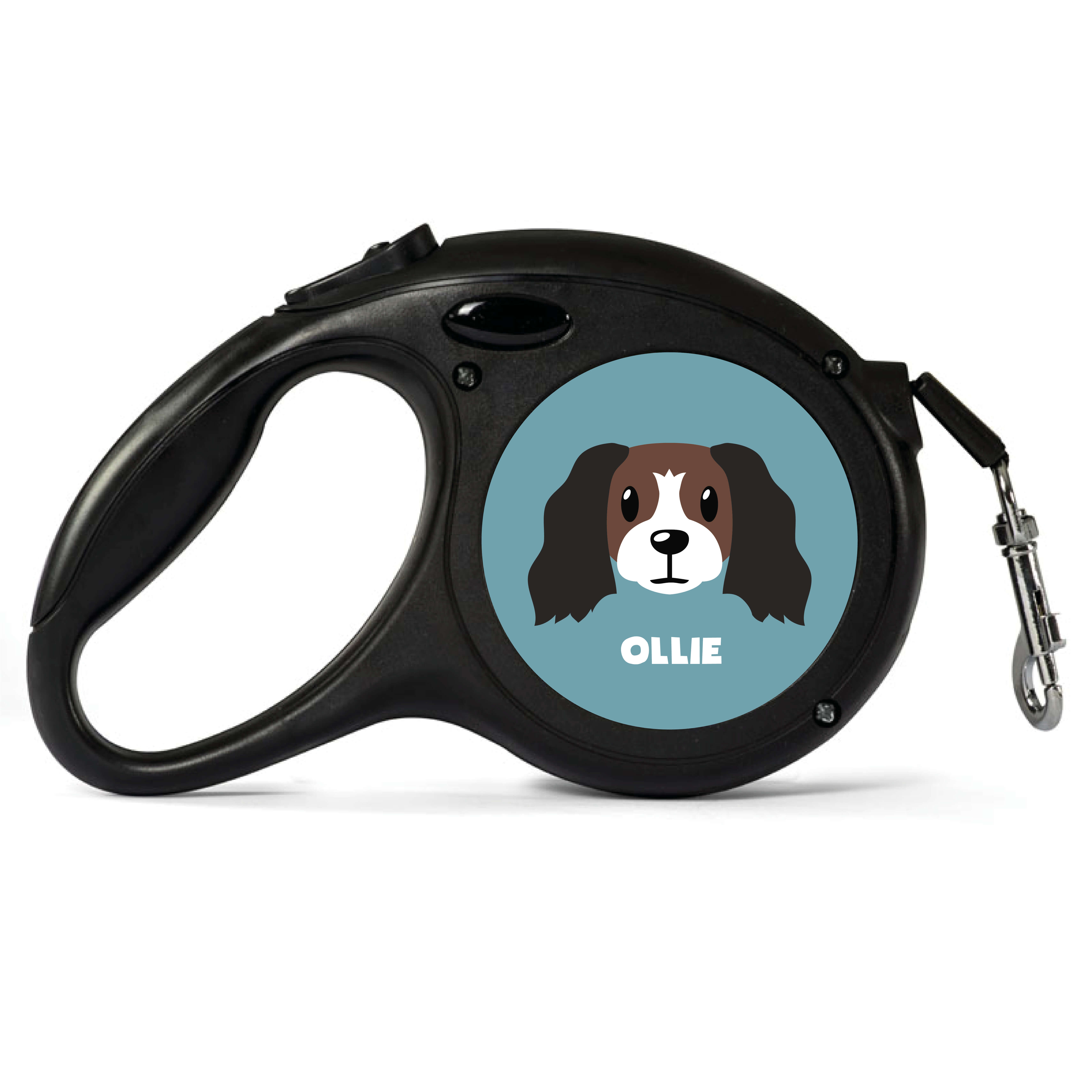 Personalised Brown and White Cocker Spaniel Retractable Dog Lead - Small