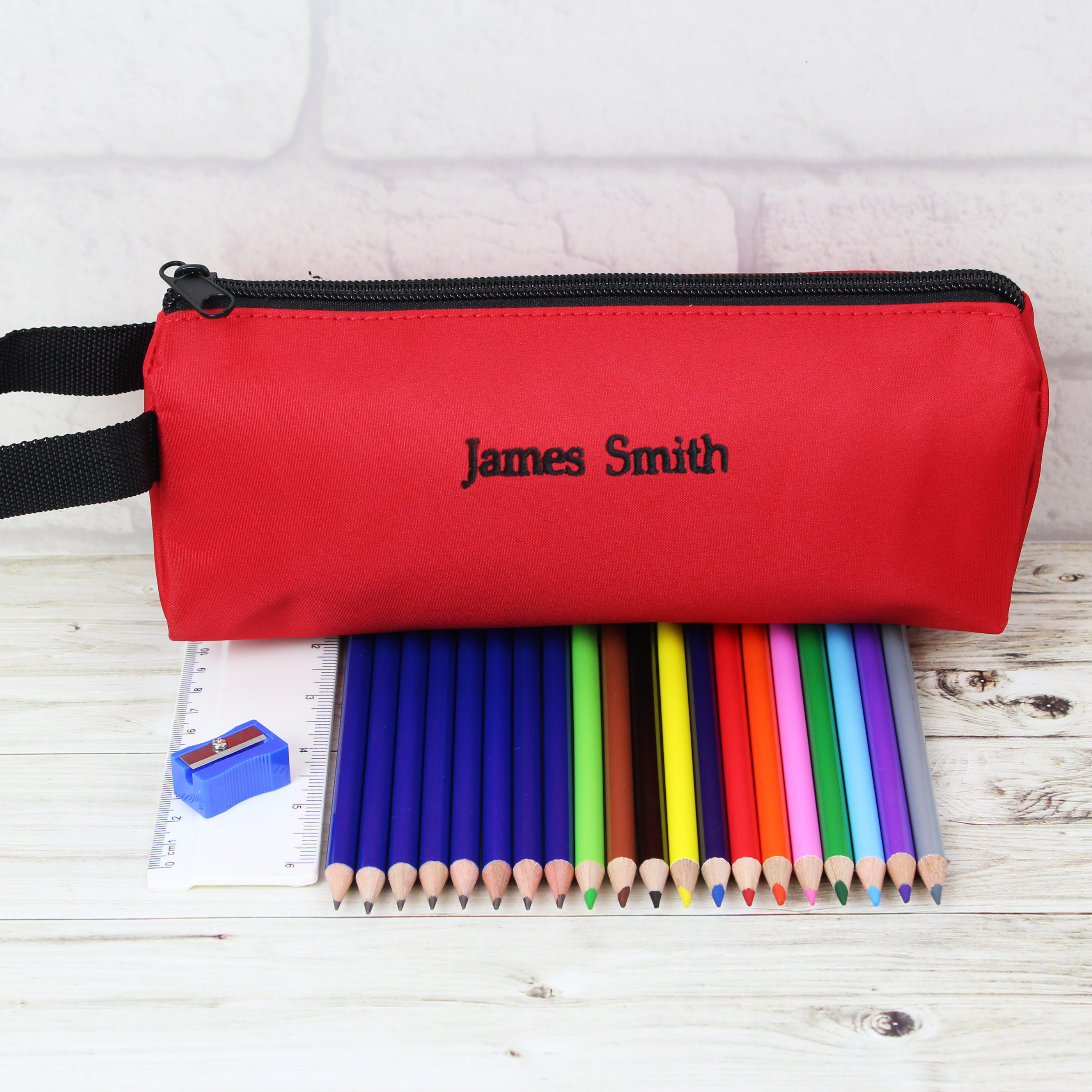 Personalised Red Pencil Case and Set