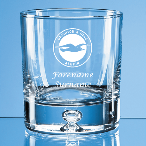 Brighton & Hove Albion FC Crest Bubble Base Whisky Tumbler