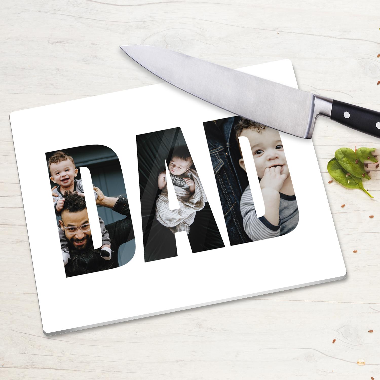 Dad Three Photo Glass Chopping Board