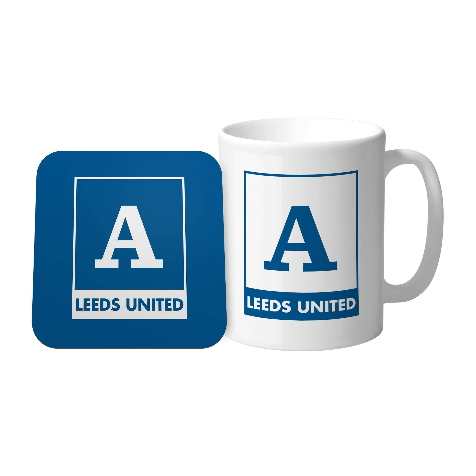 Leeds United FC Monogram Mug & Coaster Set