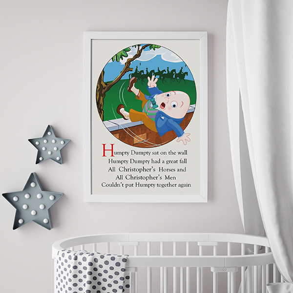 Personalisation Humpty Dumpty Poster Lifestyle shot in White Frame