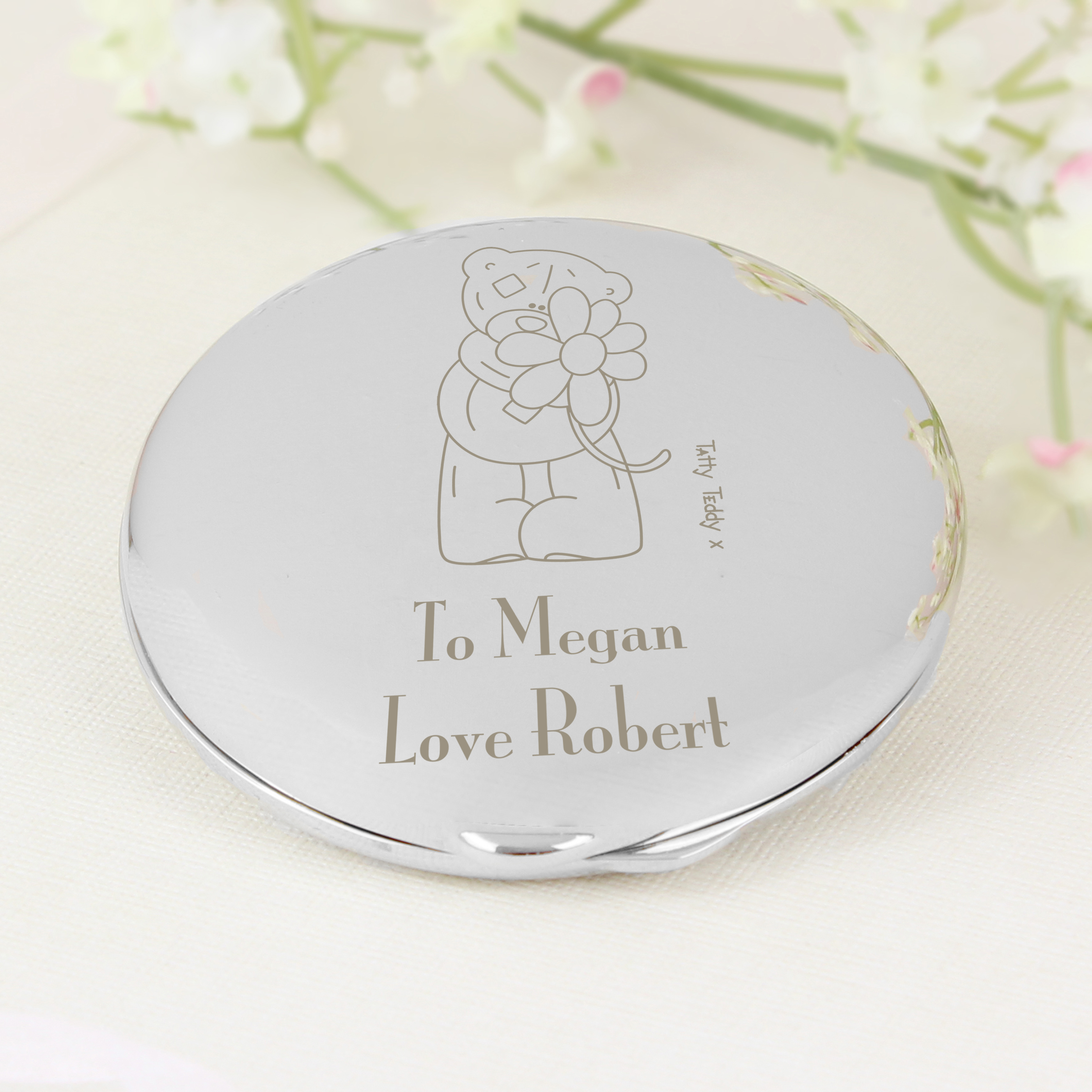 Engraved Me to You Flower Design Compact Mirror