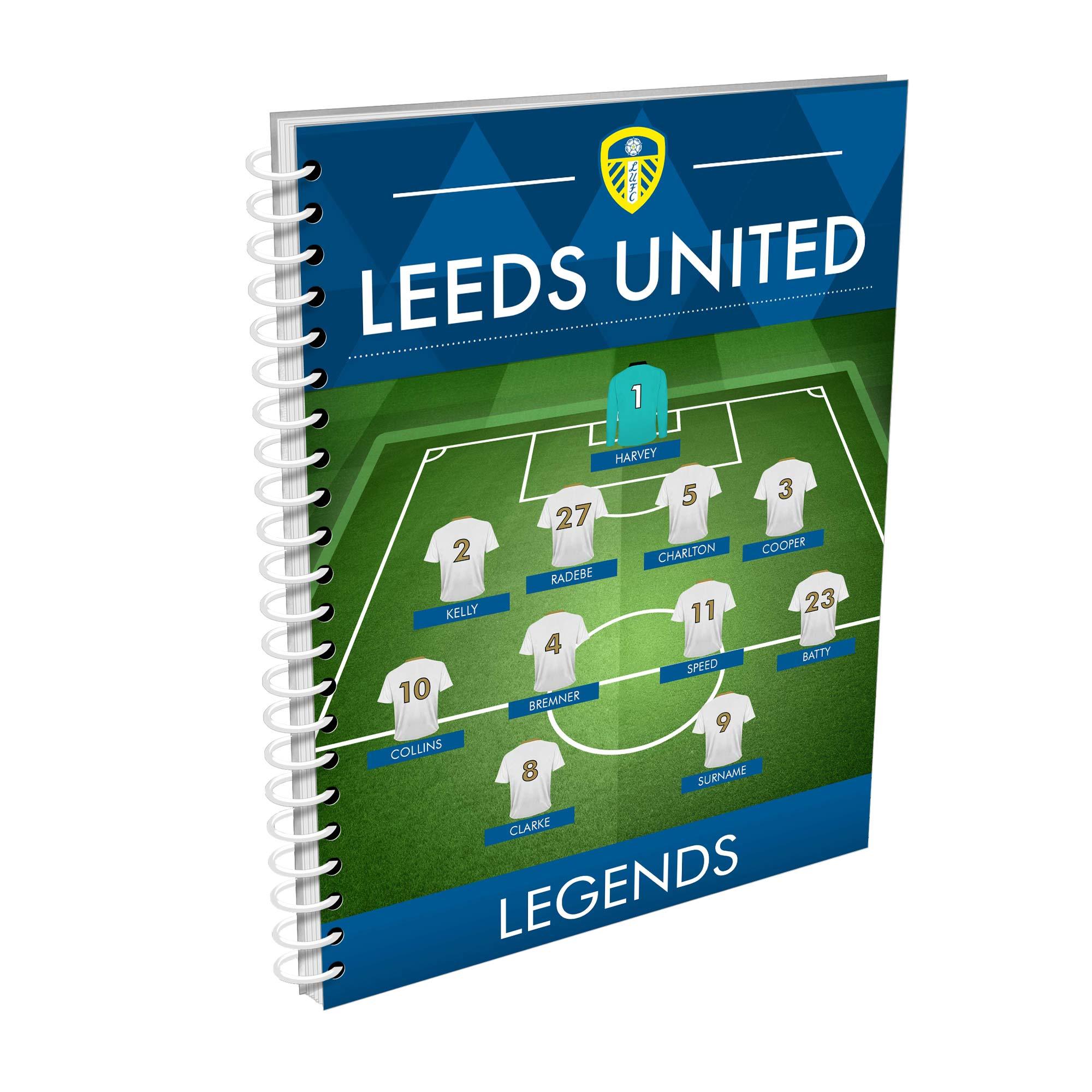 Leeds United FC Legends Line-Up A4 Lined Notepad