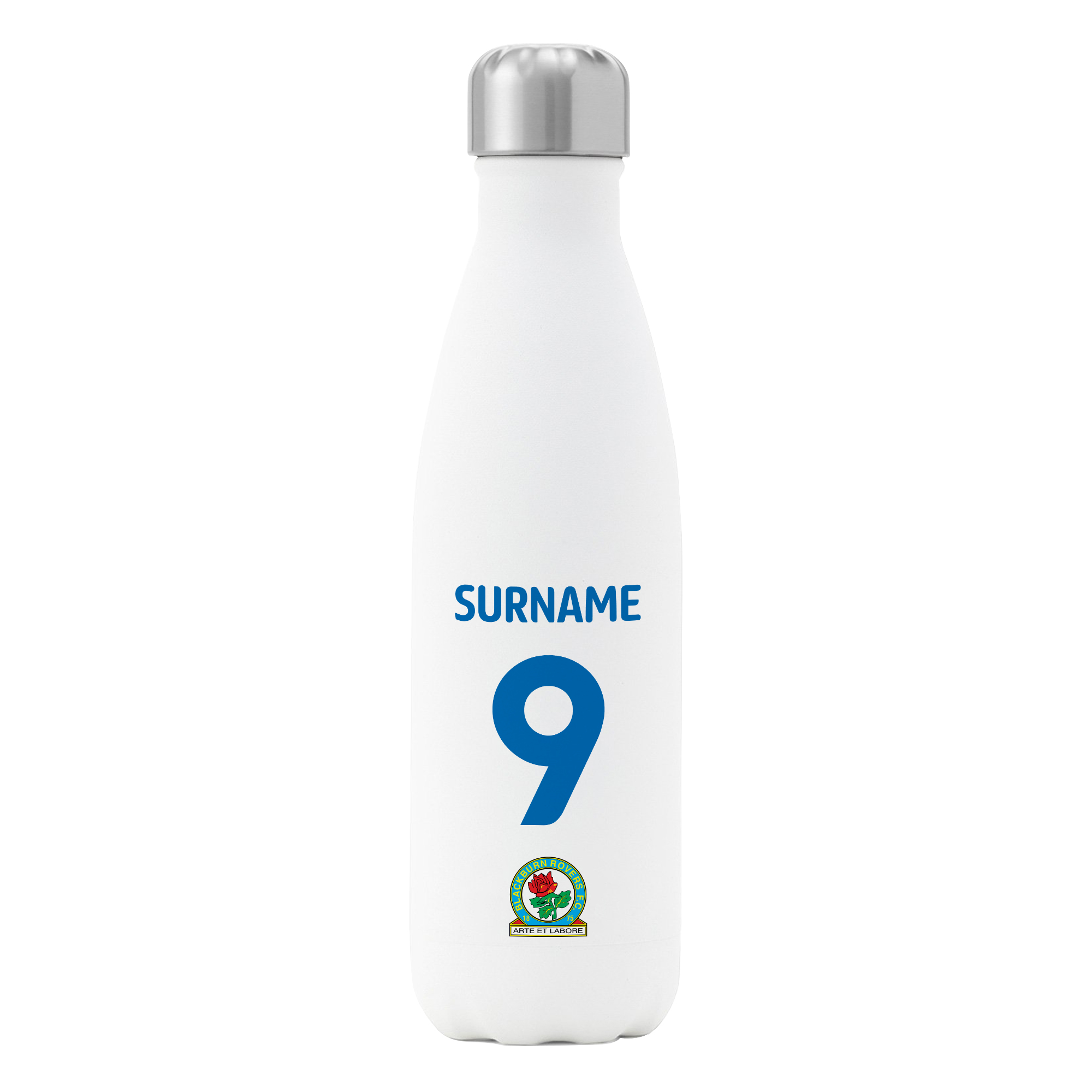 Blackburn Rovers FC Back of Shirt Insulated Water Bottle - White