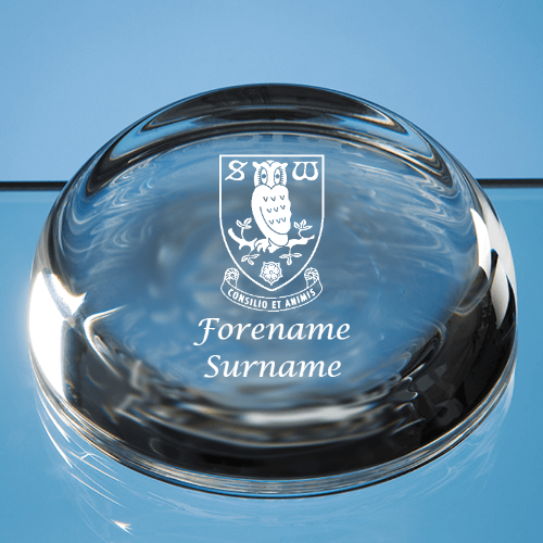 Sheffield Wednesday FC Crest Optical Crystal Paperweight