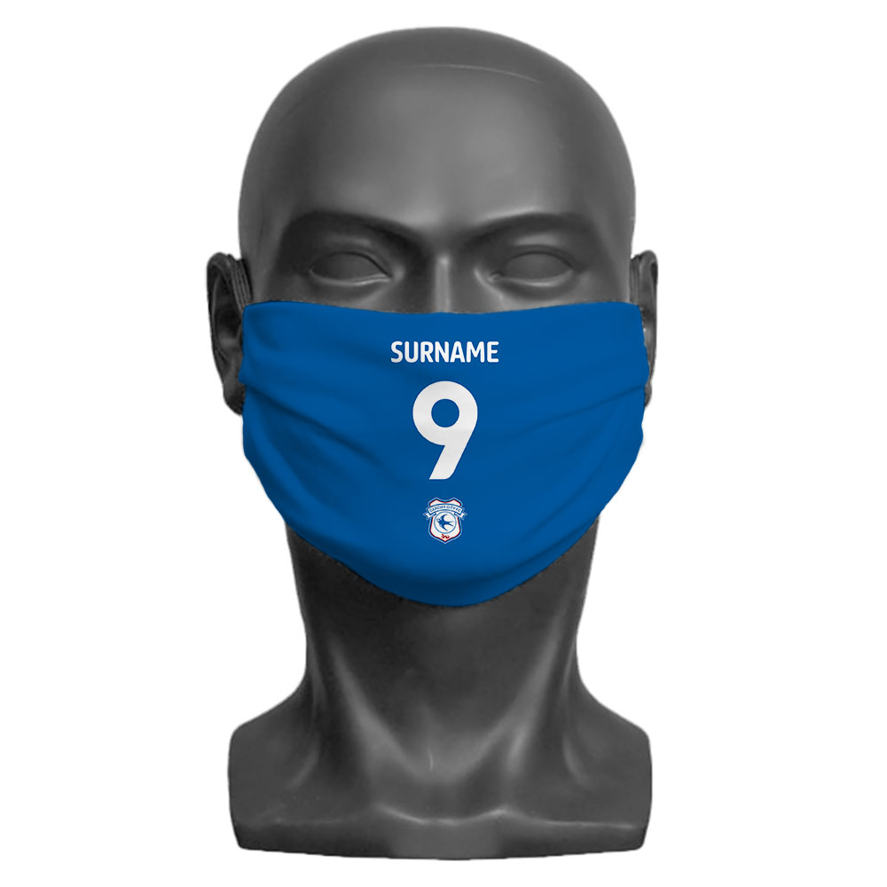 Cardiff City FC Back of Shirt Adult Face Mask (Large)