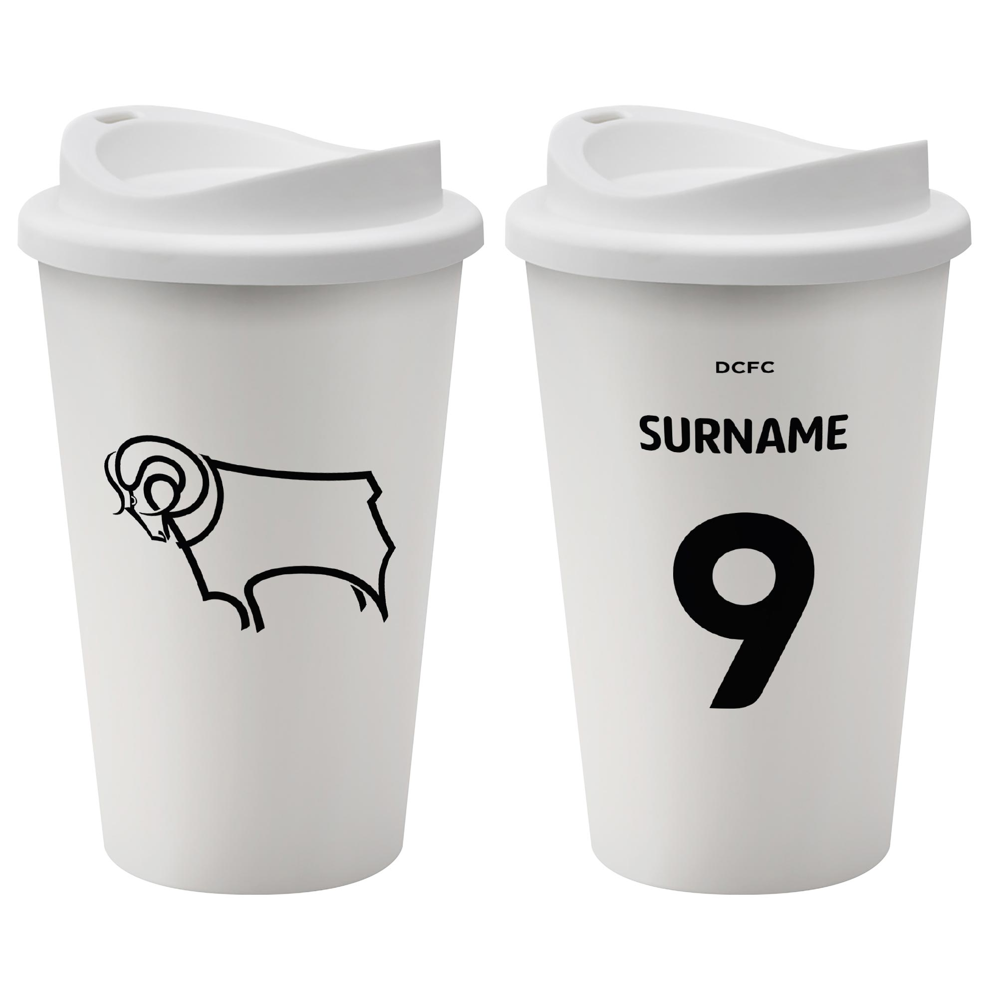 Derby County Back of Shirt Reusable Cup