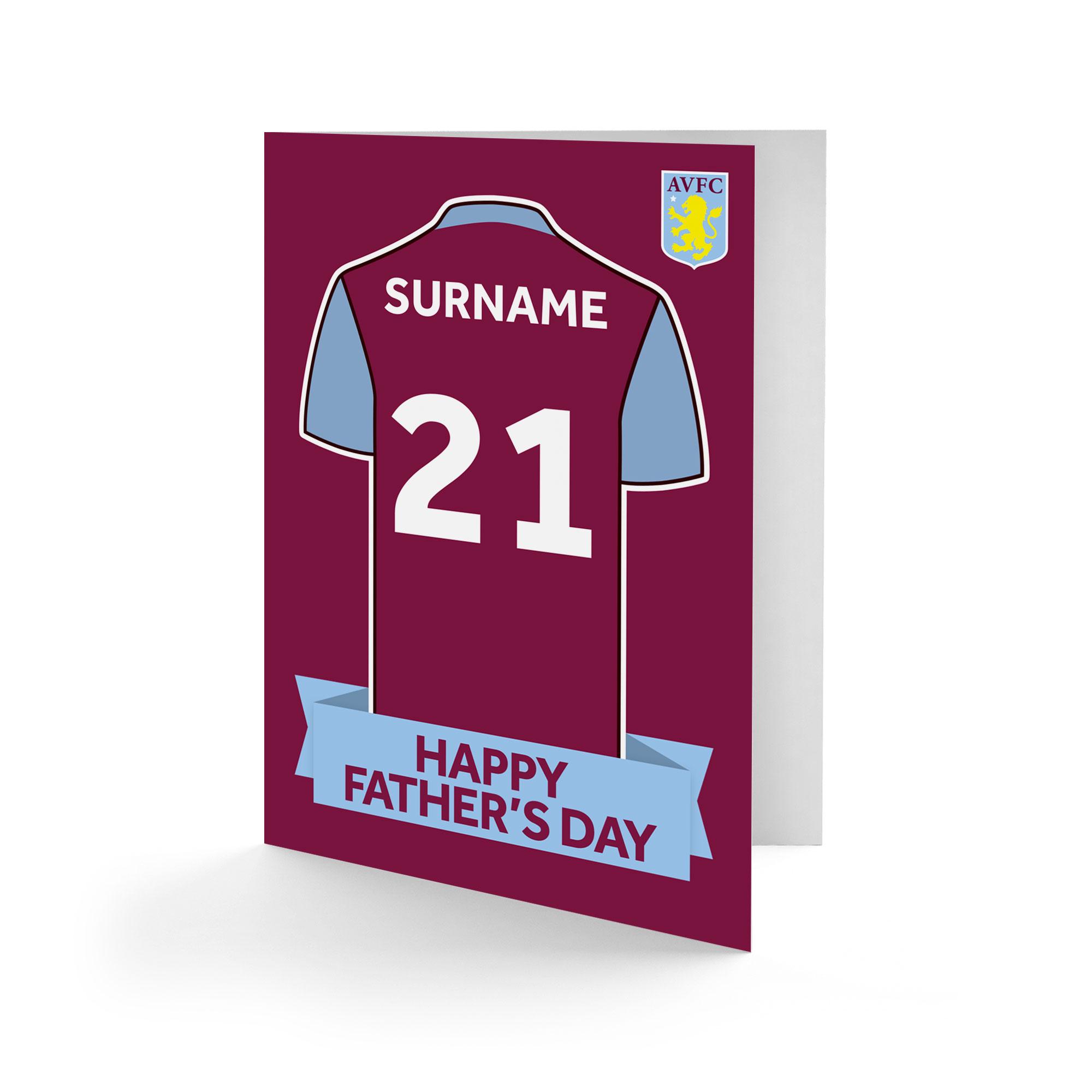 Aston Villa FC Shirt Father's Day Card