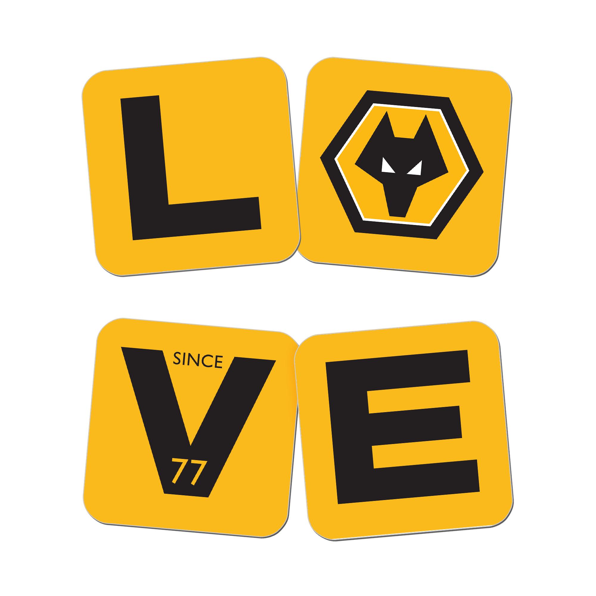 Wolverhampton Wanderers Love Coasters (x4)