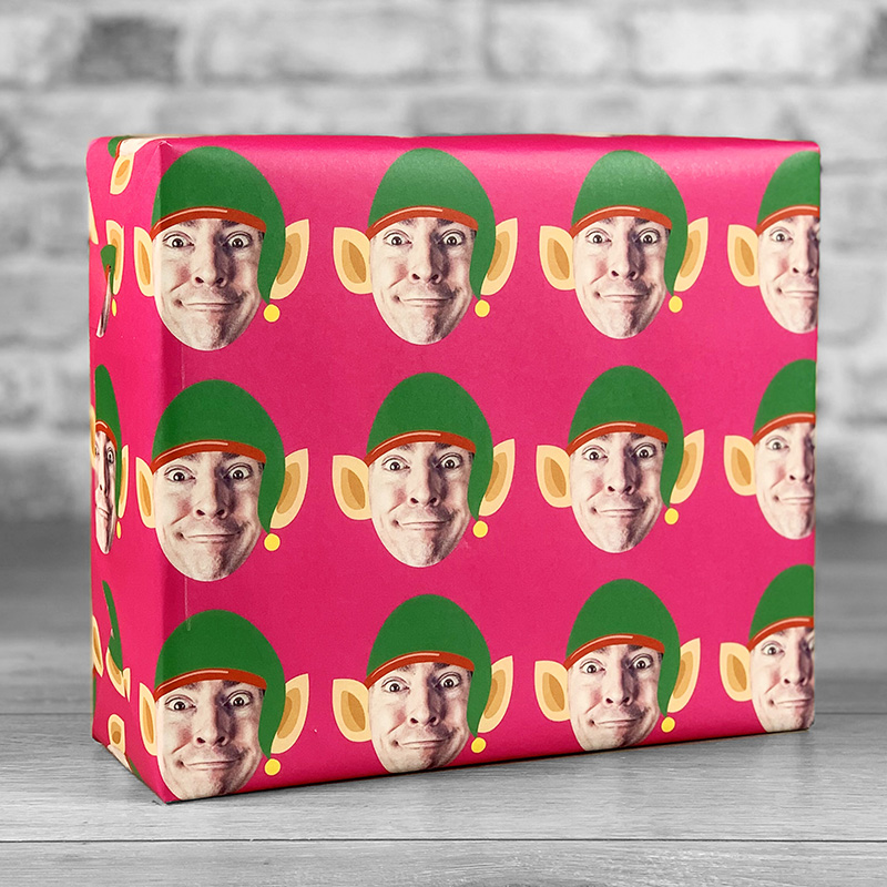 Elf Hat Fuchsia Gift Wrap with Face Upload