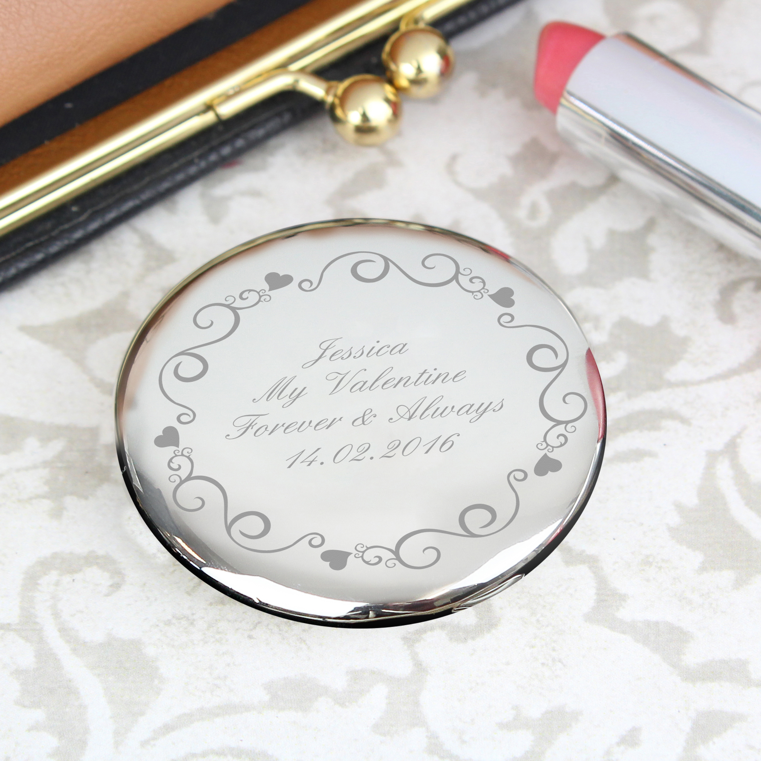 Engraved Ornate Swirl Compact Mirror