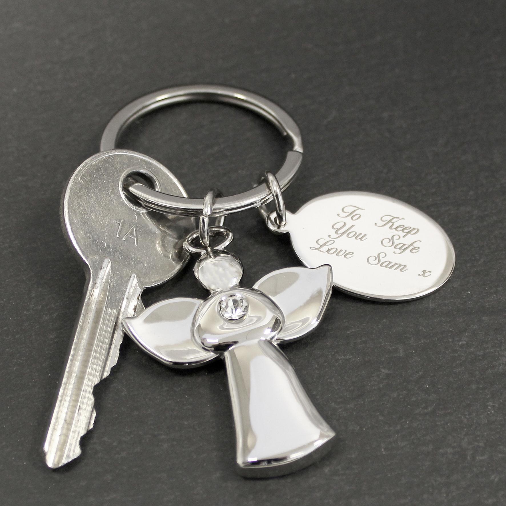 Engraved Angel Key Ring