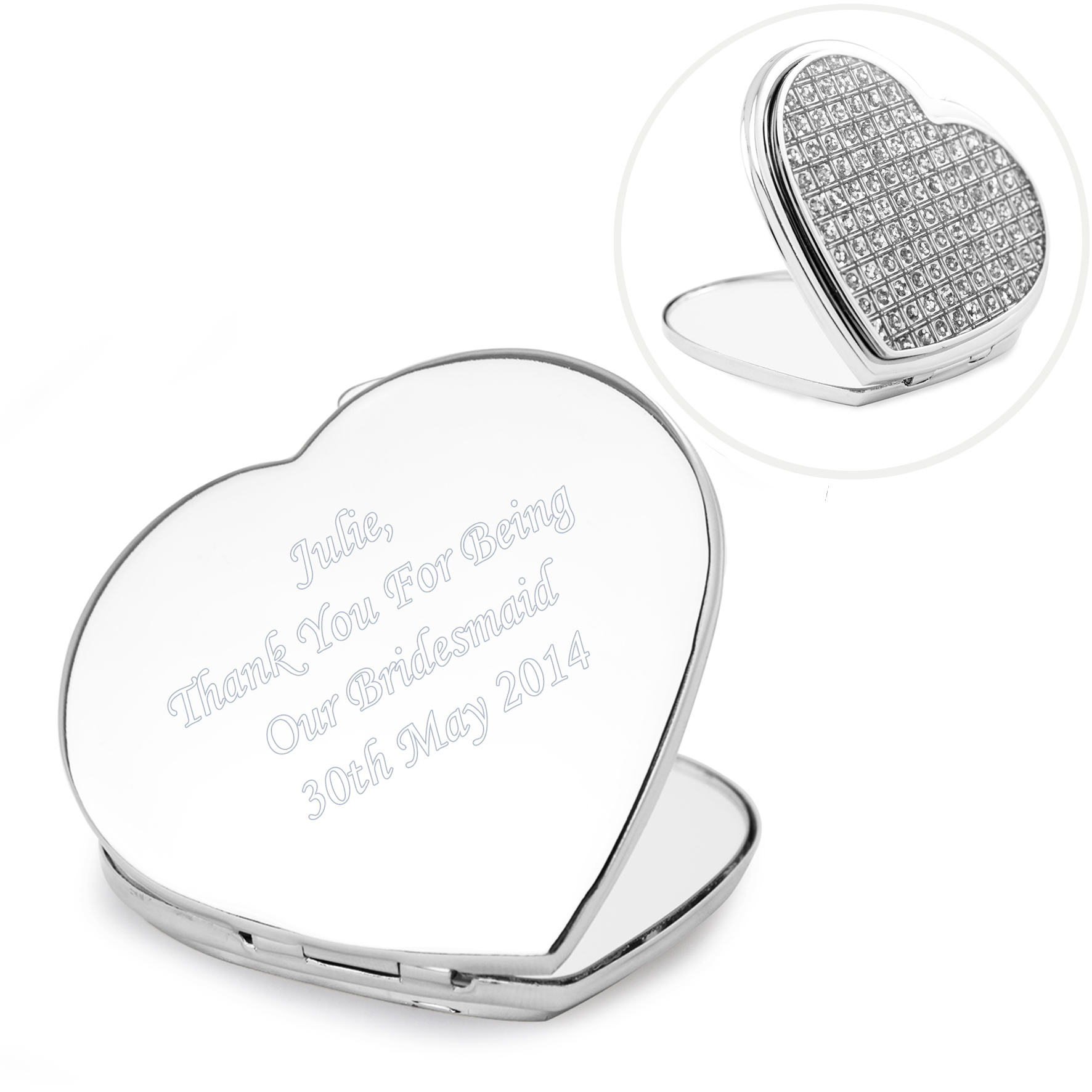 Engraved Diamante Heart Compact