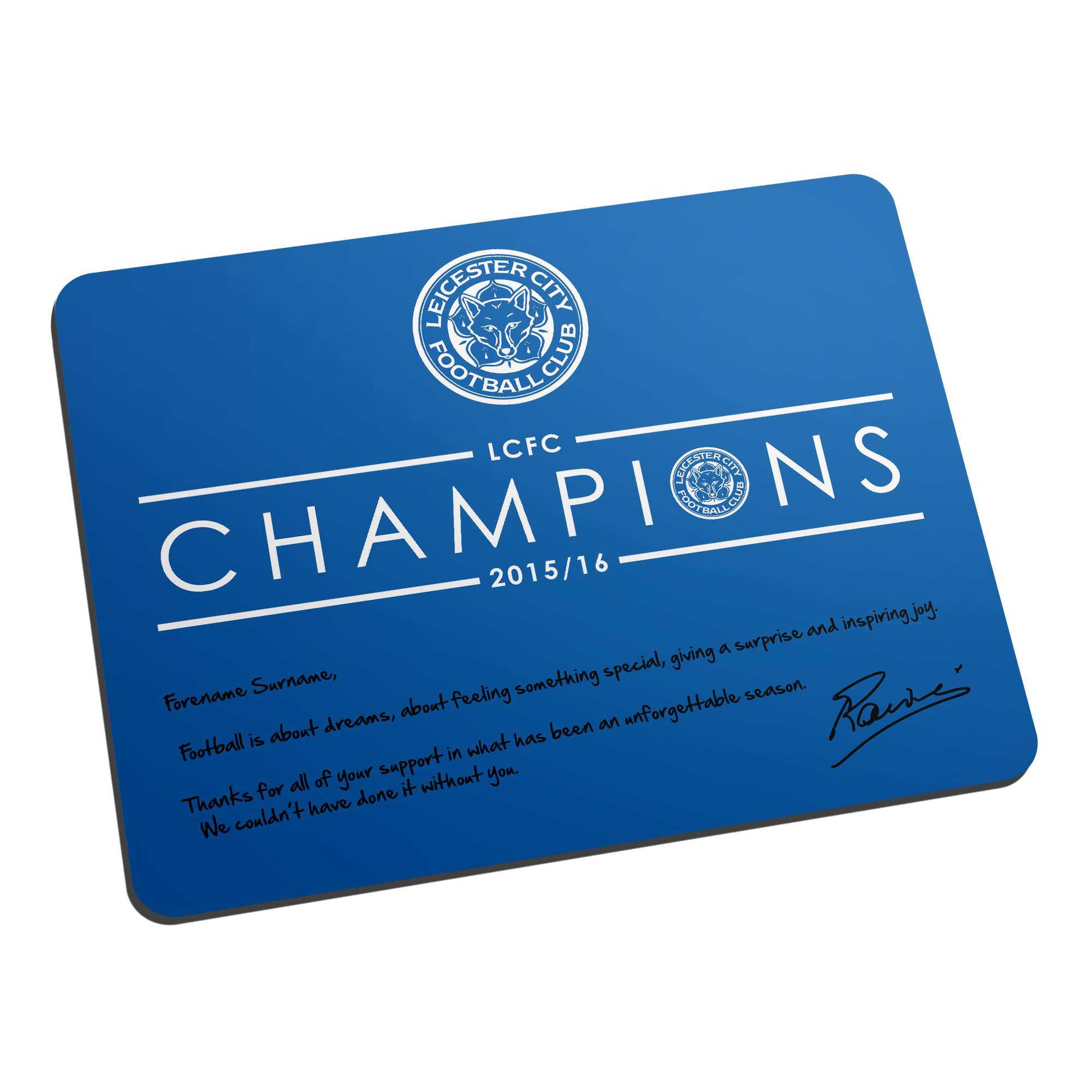 Leicester City FC Ranieri Champions Mouse Mat