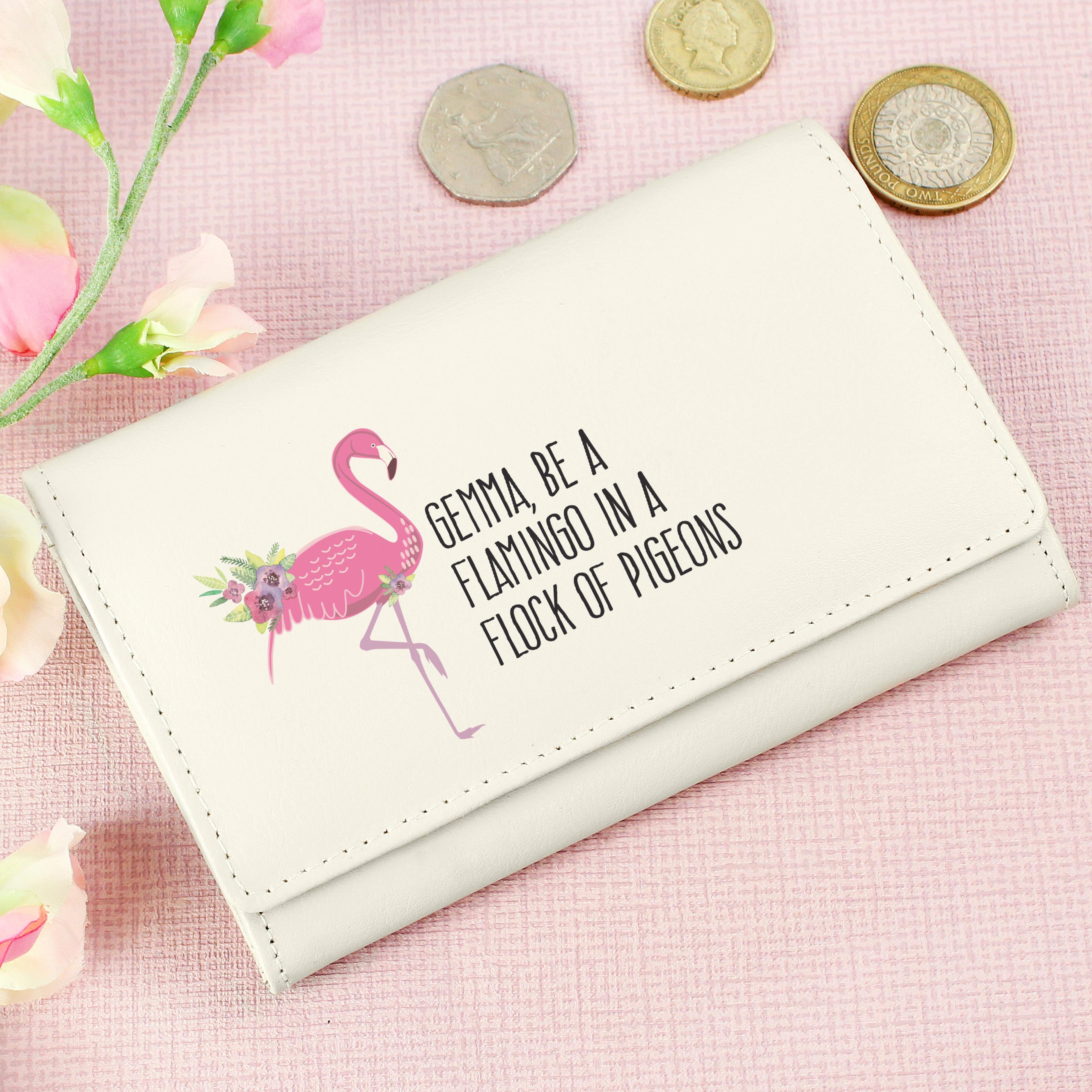 Personalised Flamingo Cream Purse