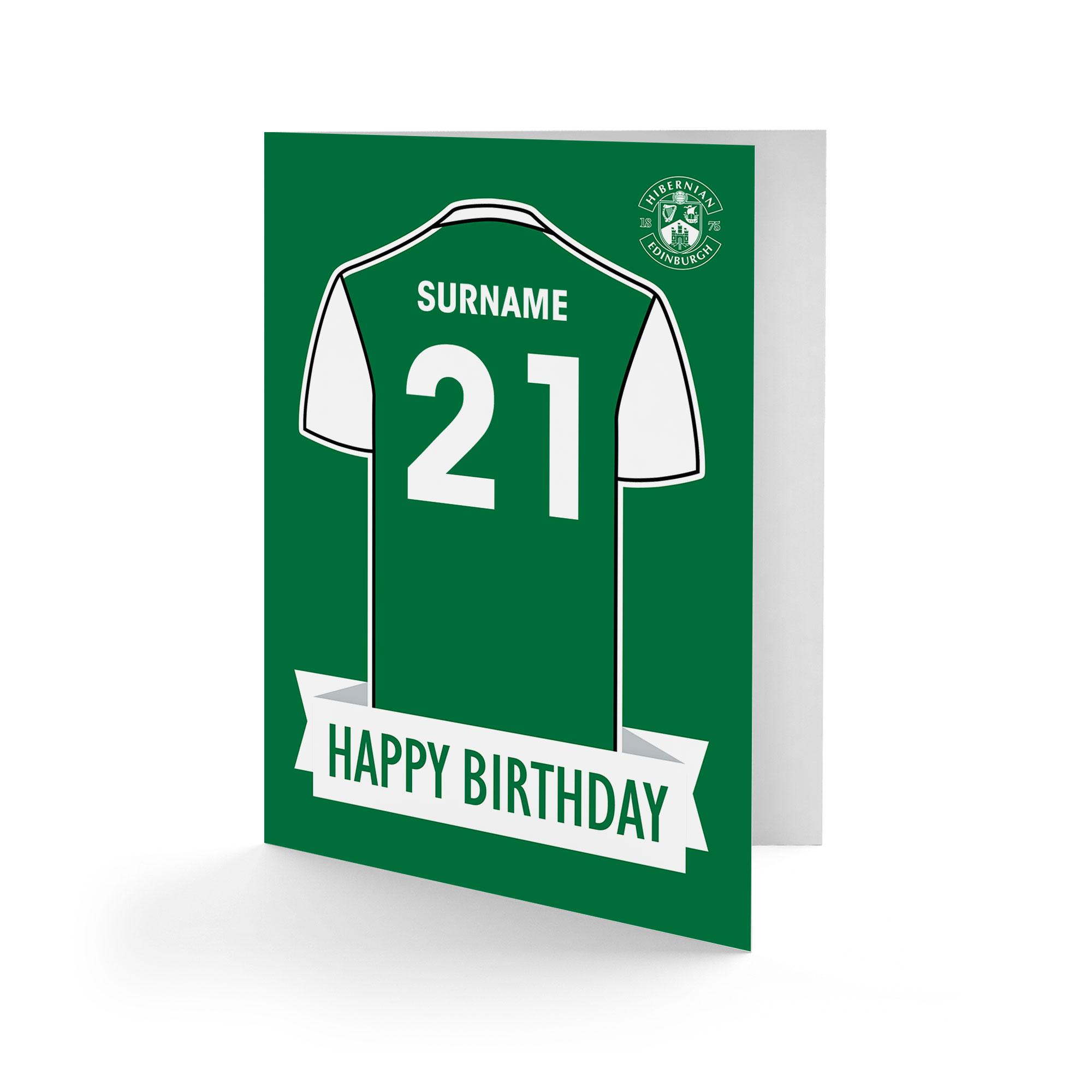 Hibernian FC Shirt Birthday Card