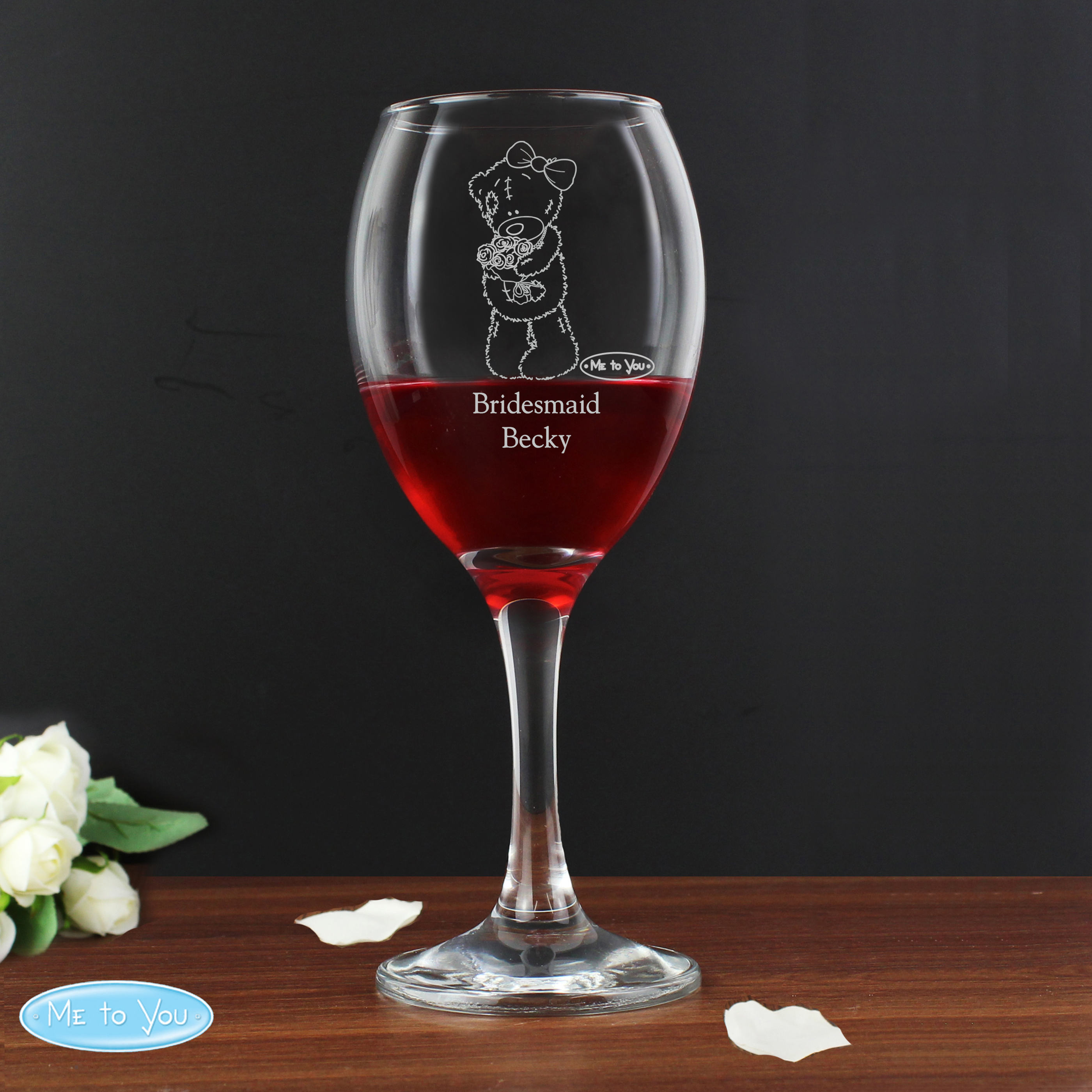Personalised Me To You Wedding Wine Glass