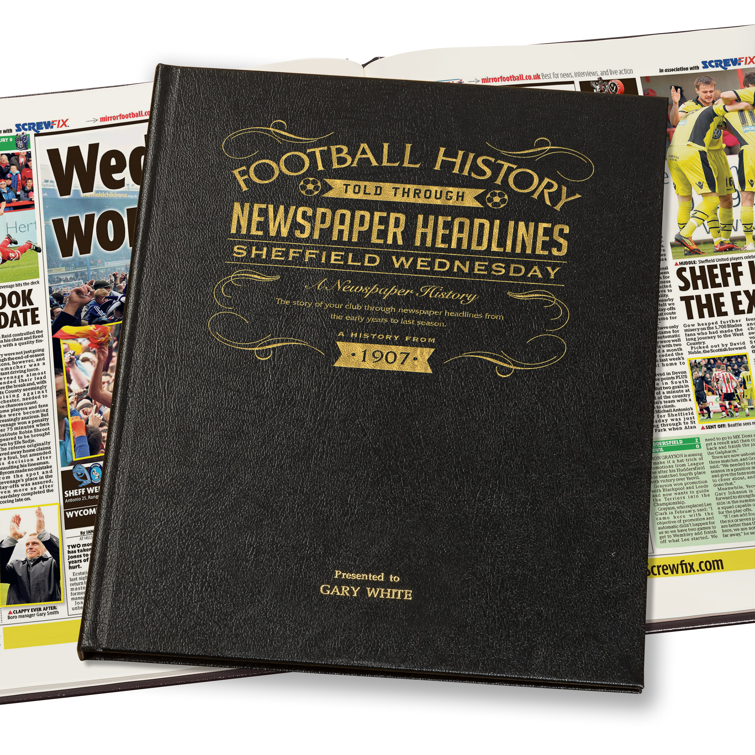 Sheffield Wednesday Newspaper Book - Leather Black Cover