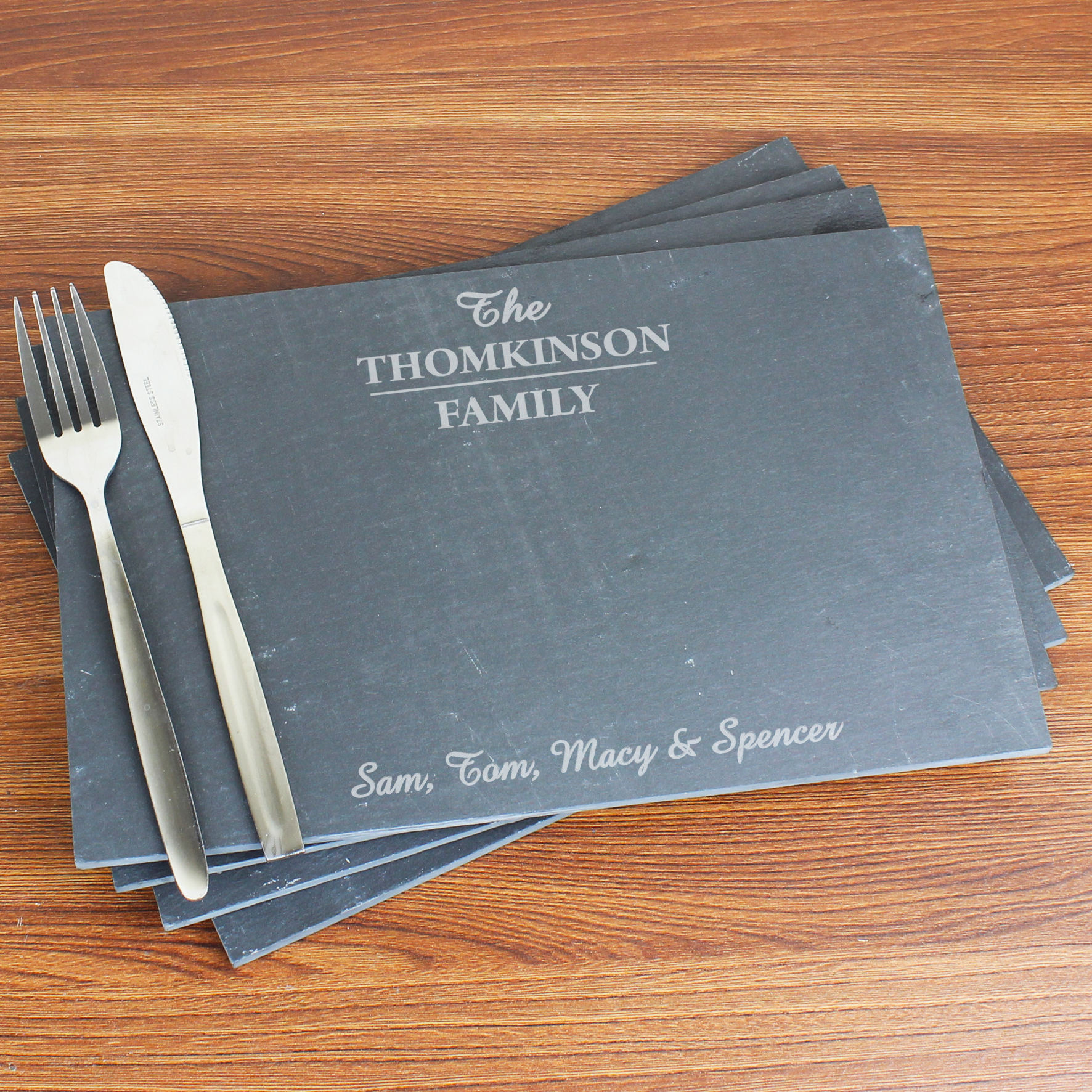 Engraved Family Slate Rectangle Placemat 4 Pack