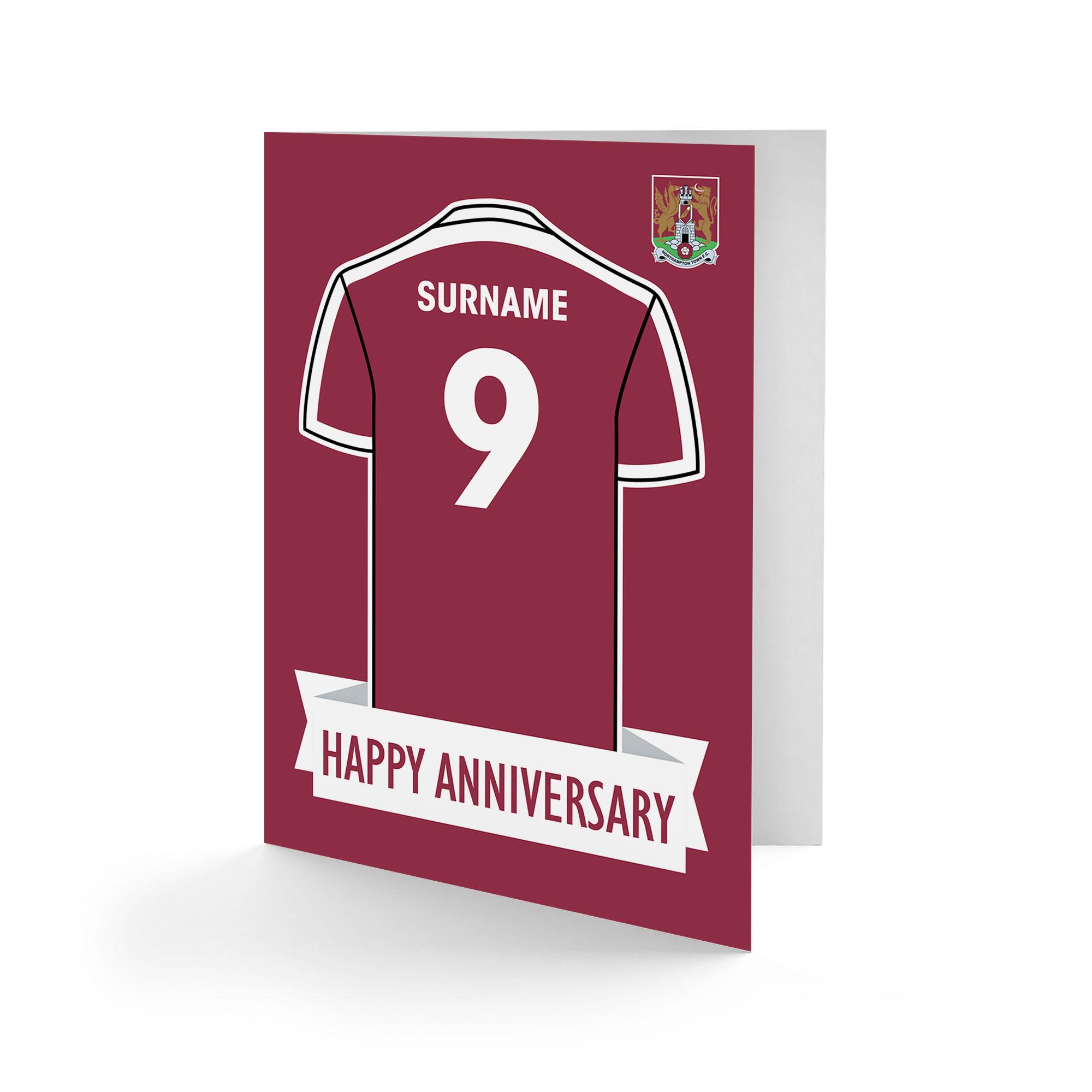Northampton Town FC Shirt Anniversary Card