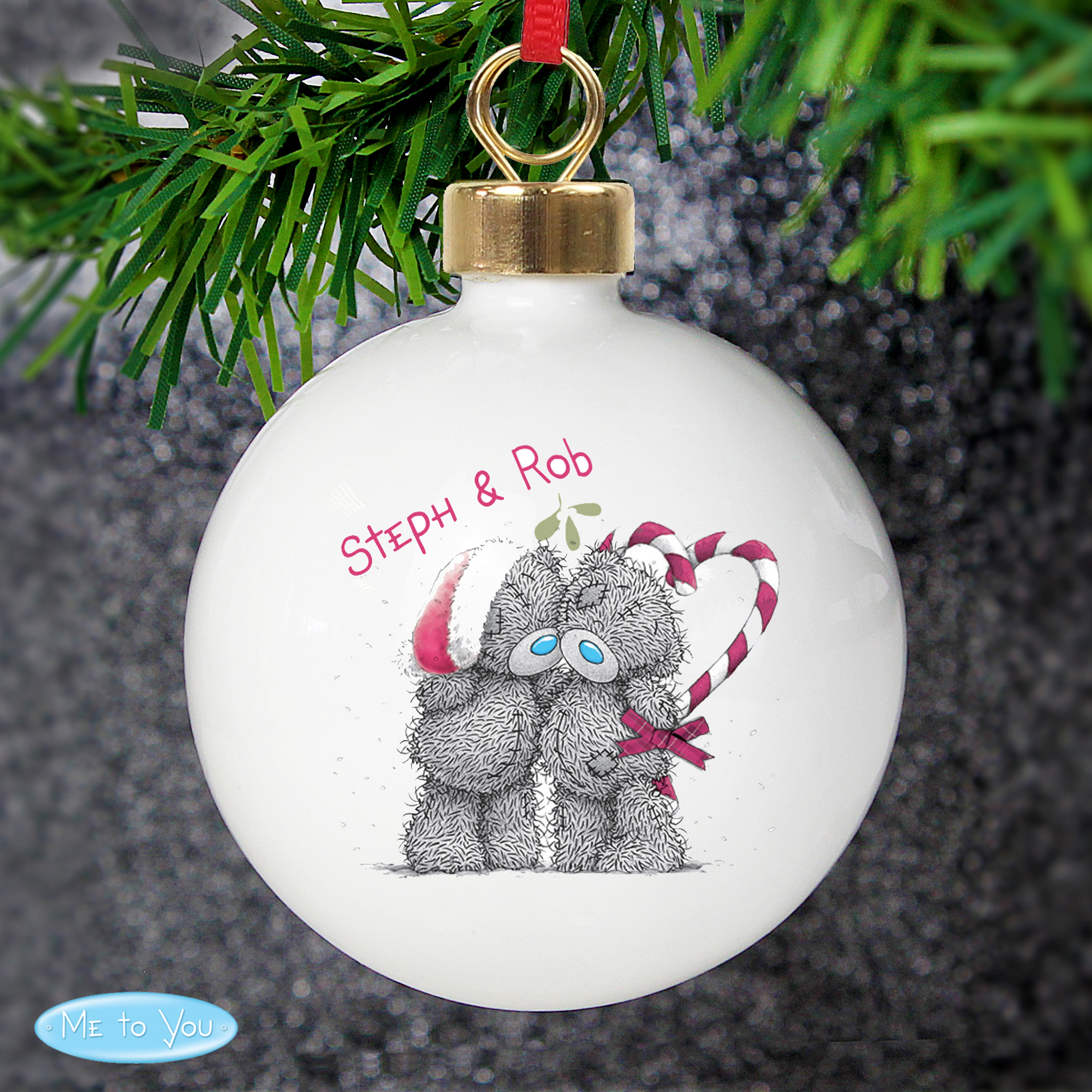 Personalised Me to You Christmas Couple Bauble