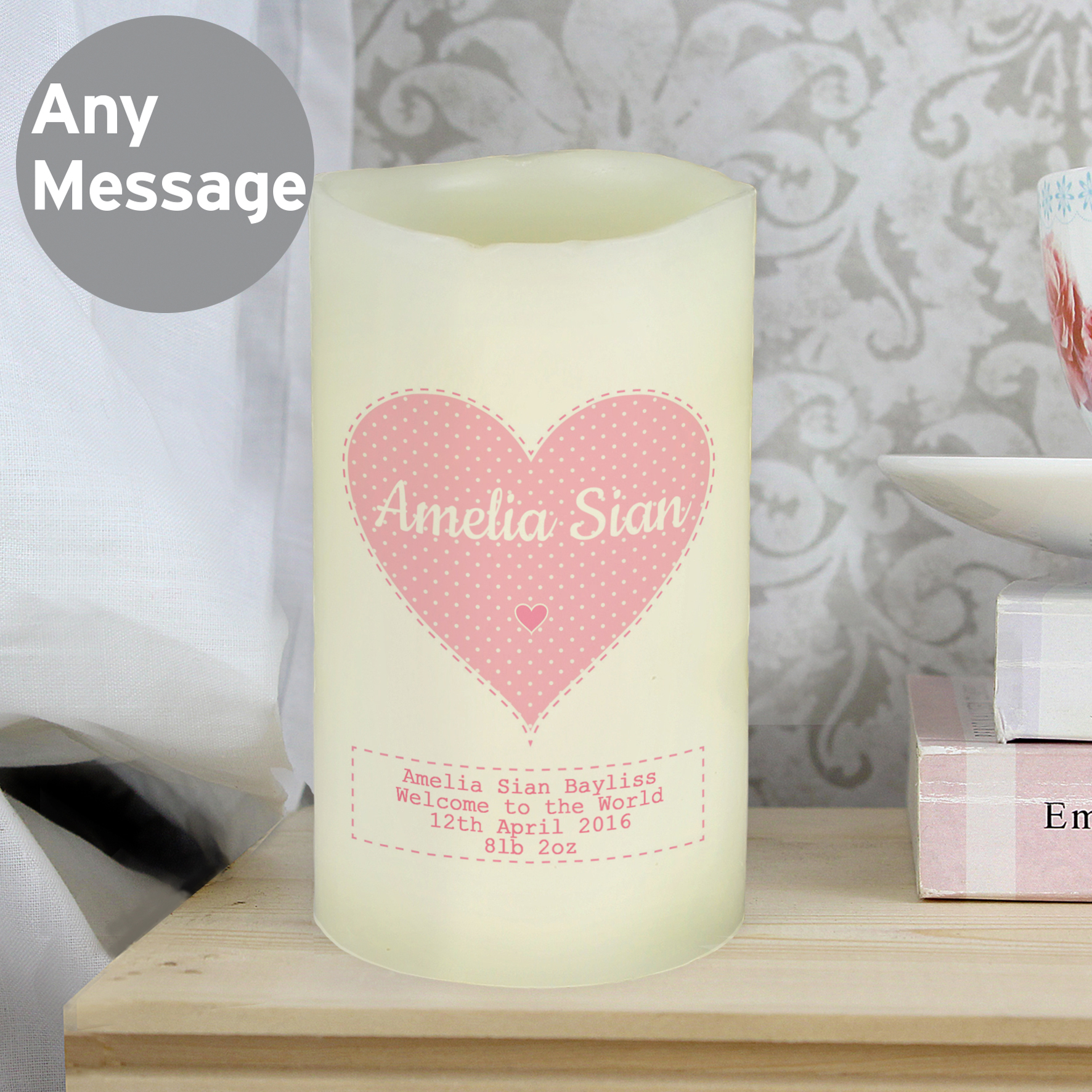 Personalised Stitch & Dot Girls LED Candle