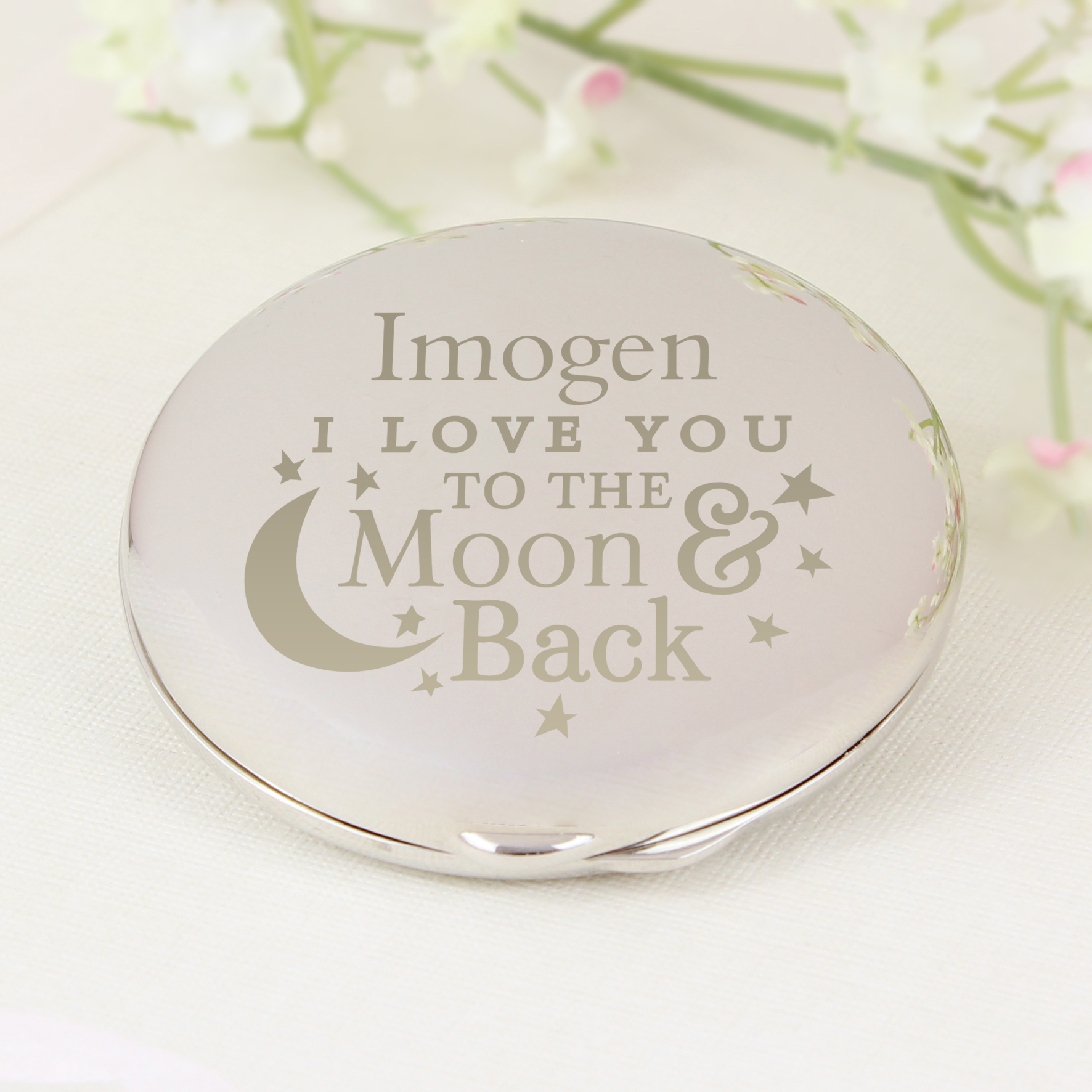 Engraved To the Moon and Back... Round Compact
