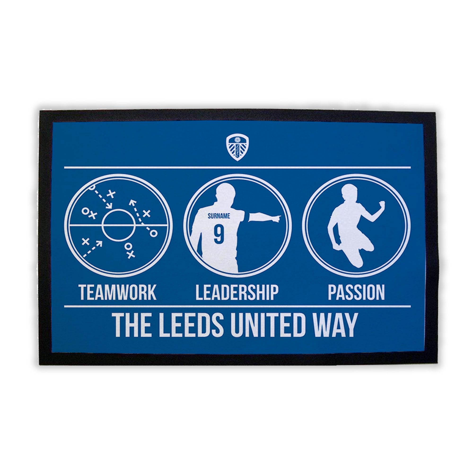 Leeds United Teamwork, Leadership, Passion Door Mat