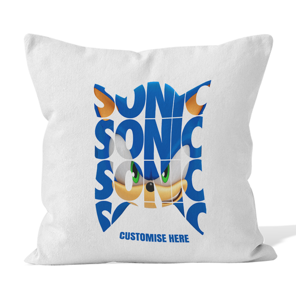 Microfibre Cushion - Sonic Text - Modern Sonic
