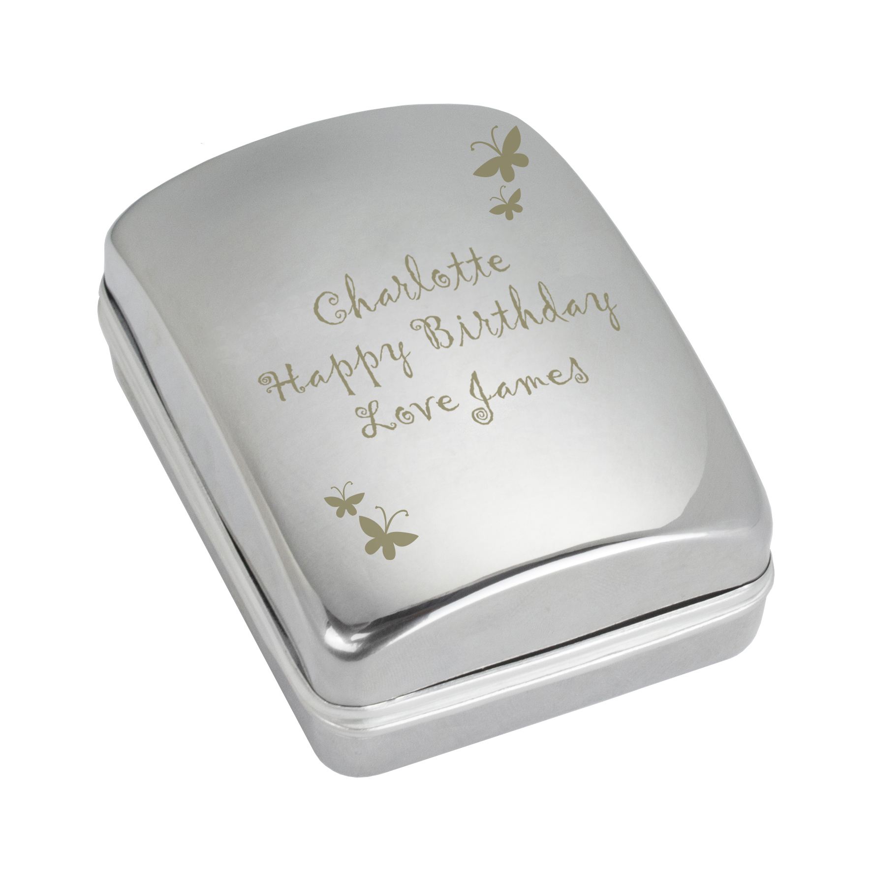 Engraved Butterfly Motif Necklace Box with Heart Necklace