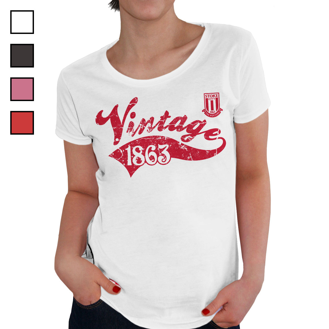 Stoke City FC Ladies Vintage T-Shirt