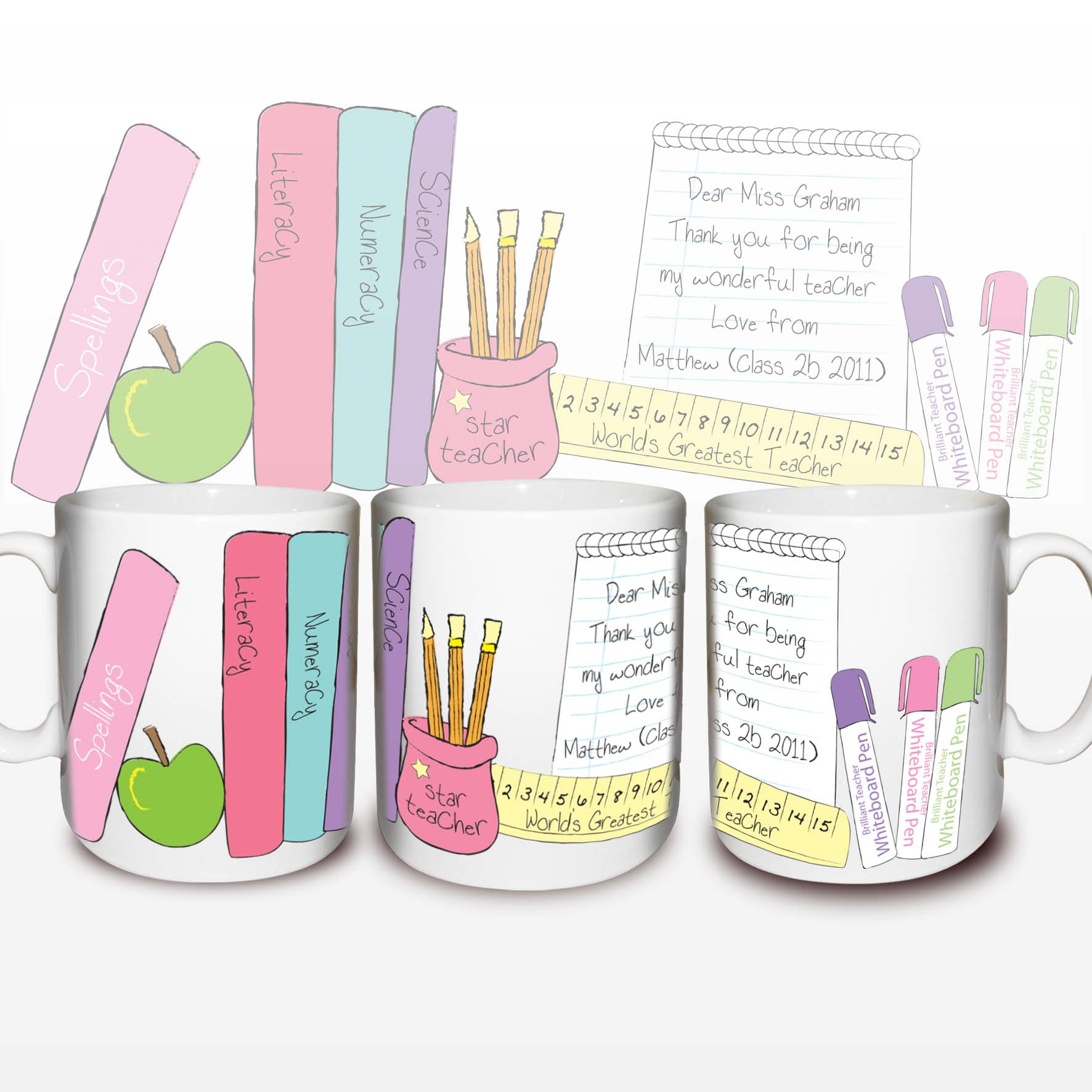 Personalised Female Teachers Desk Mug