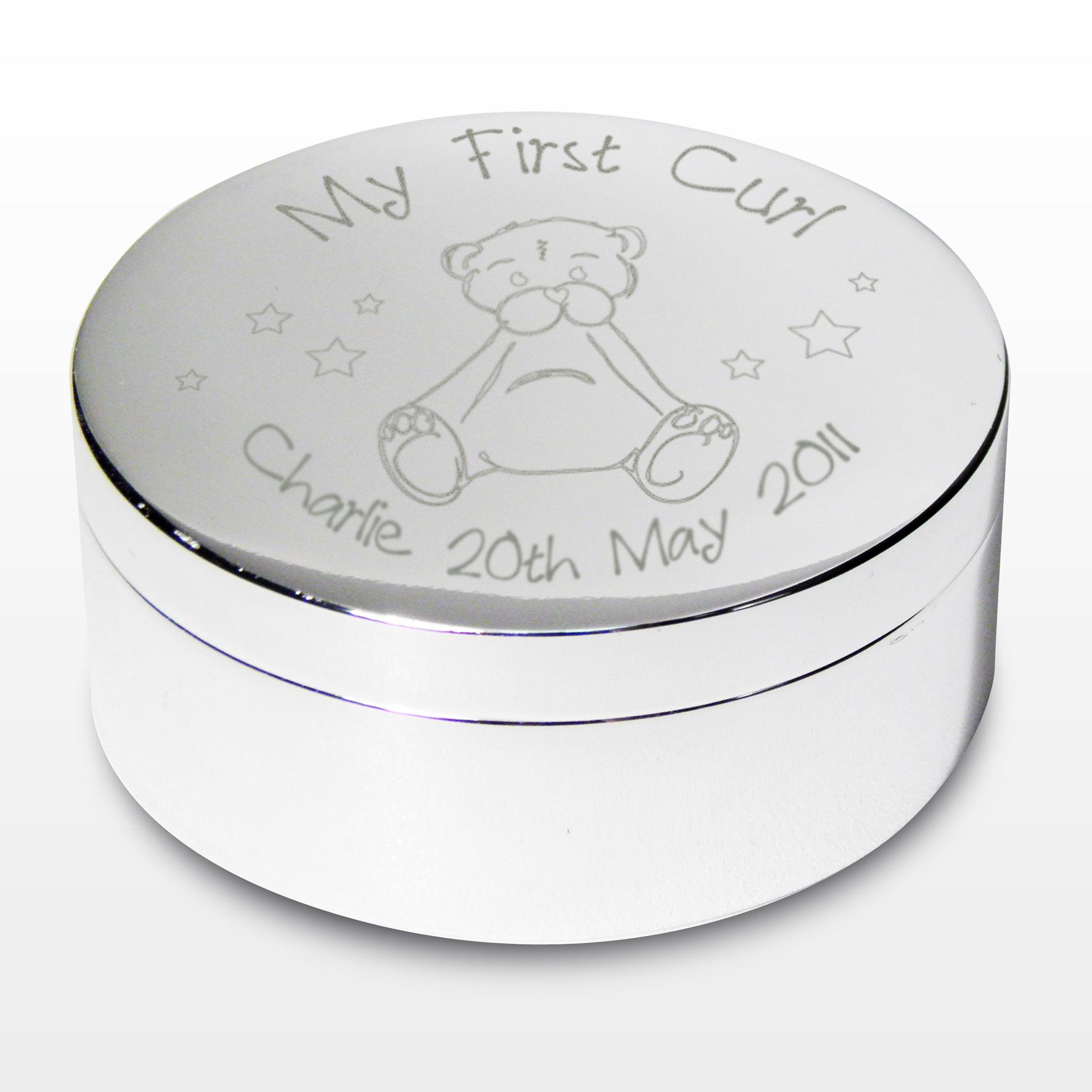 Engraved My First Curl Teddy Trinket Box