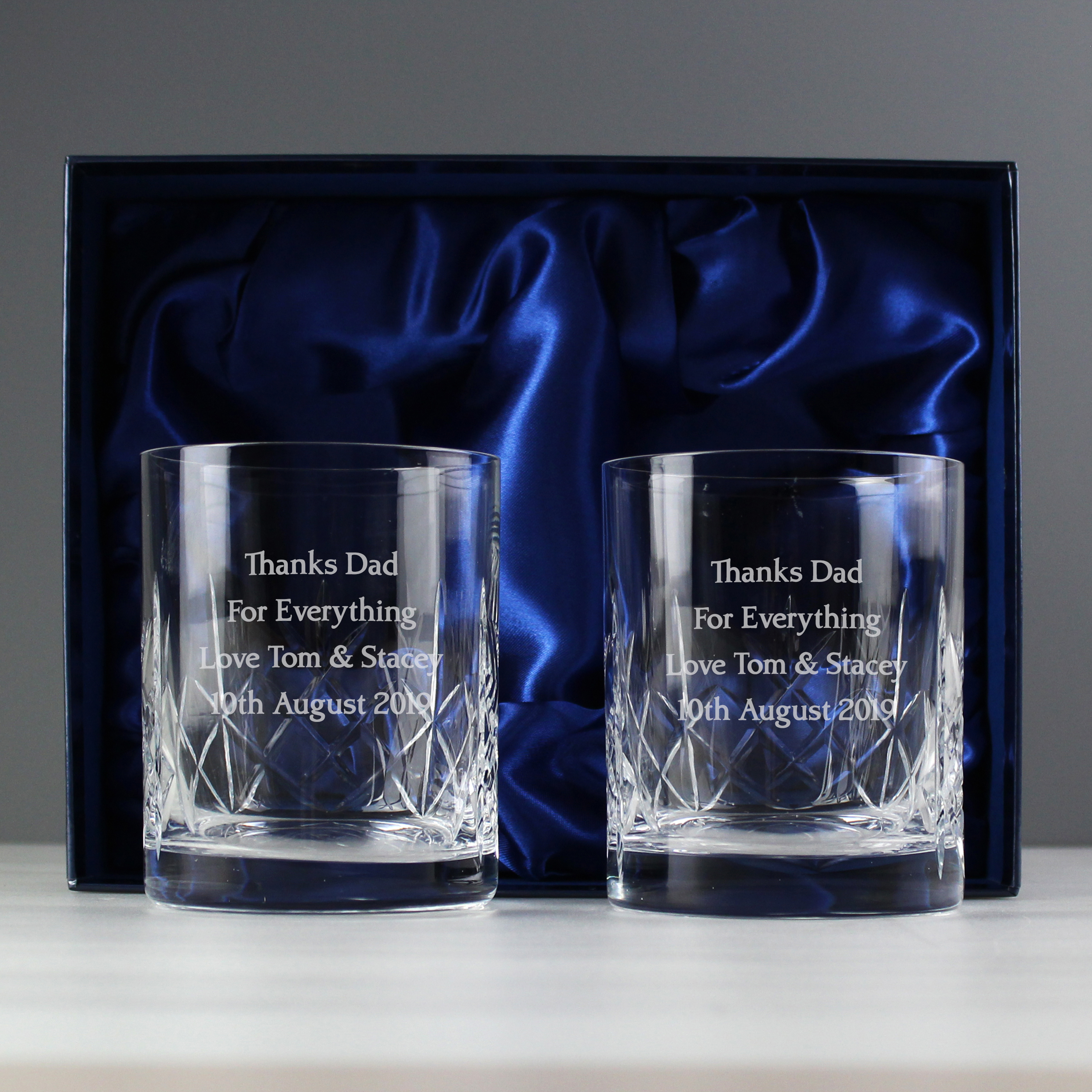 Engraved Crystal Pair of Whisky Tumblers